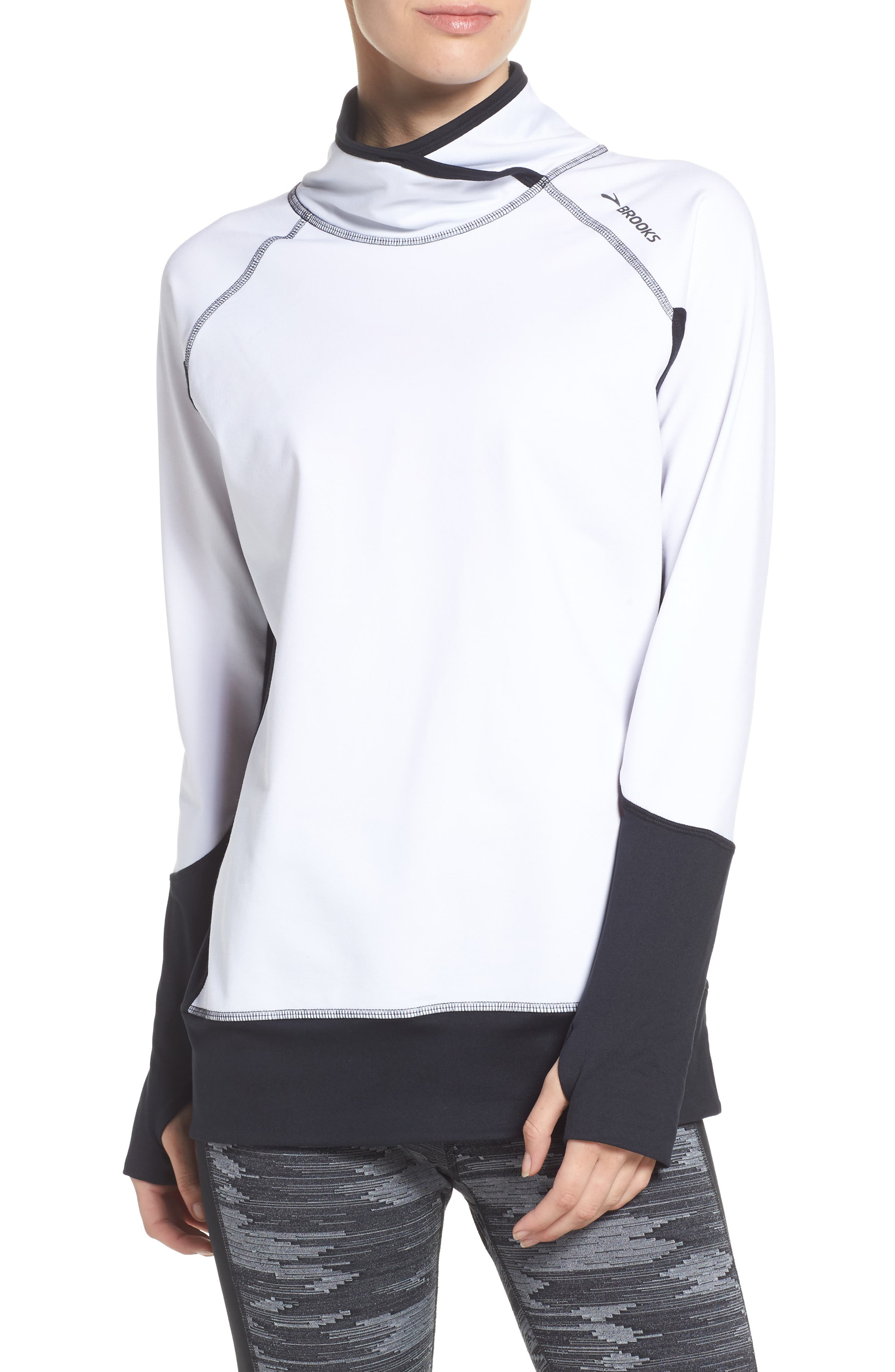 Performance Pullover,                         Main,                         color, White/ Black