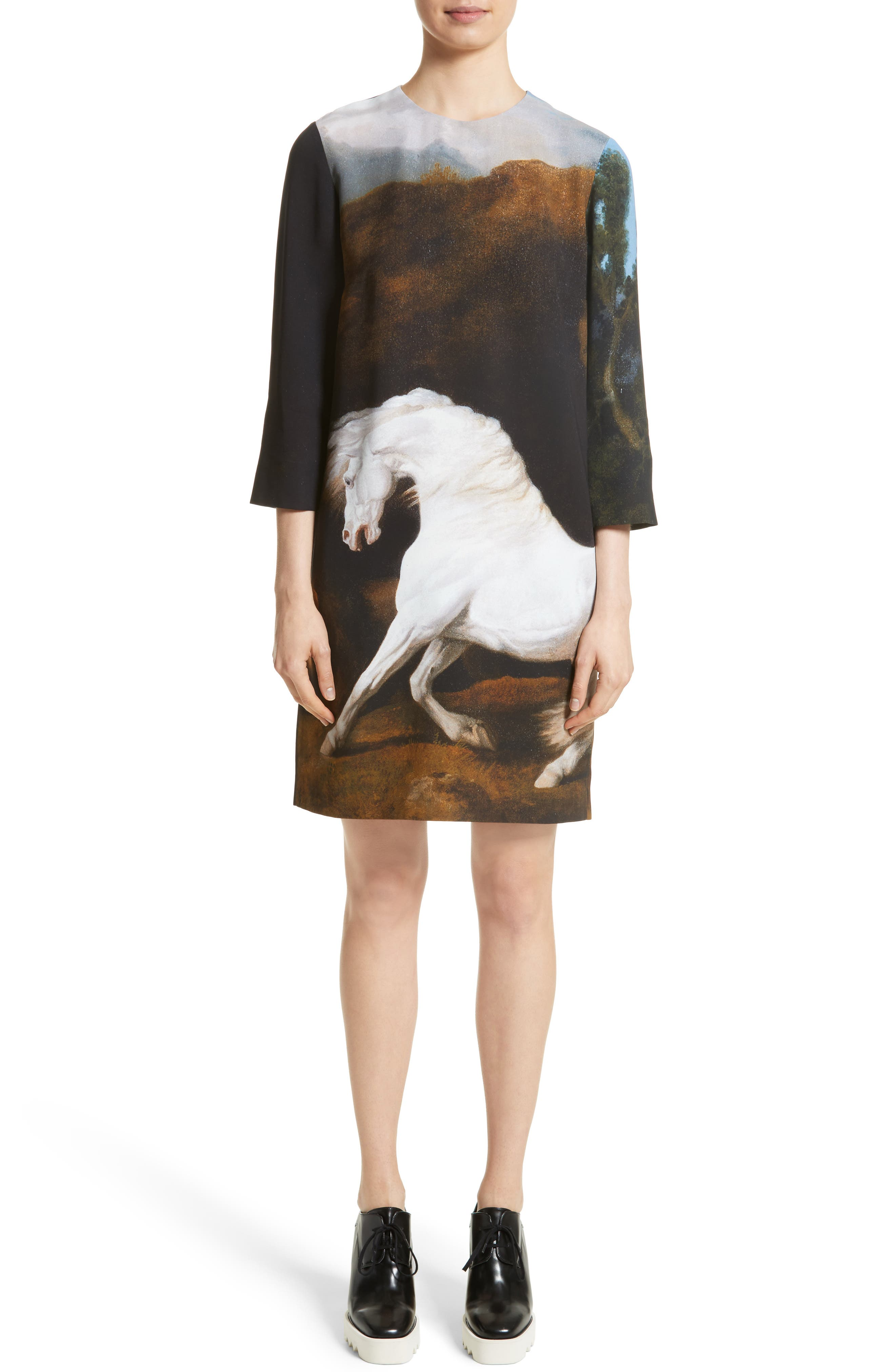Kira Horse Print Dress,                             Main thumbnail 1, color,                             Black