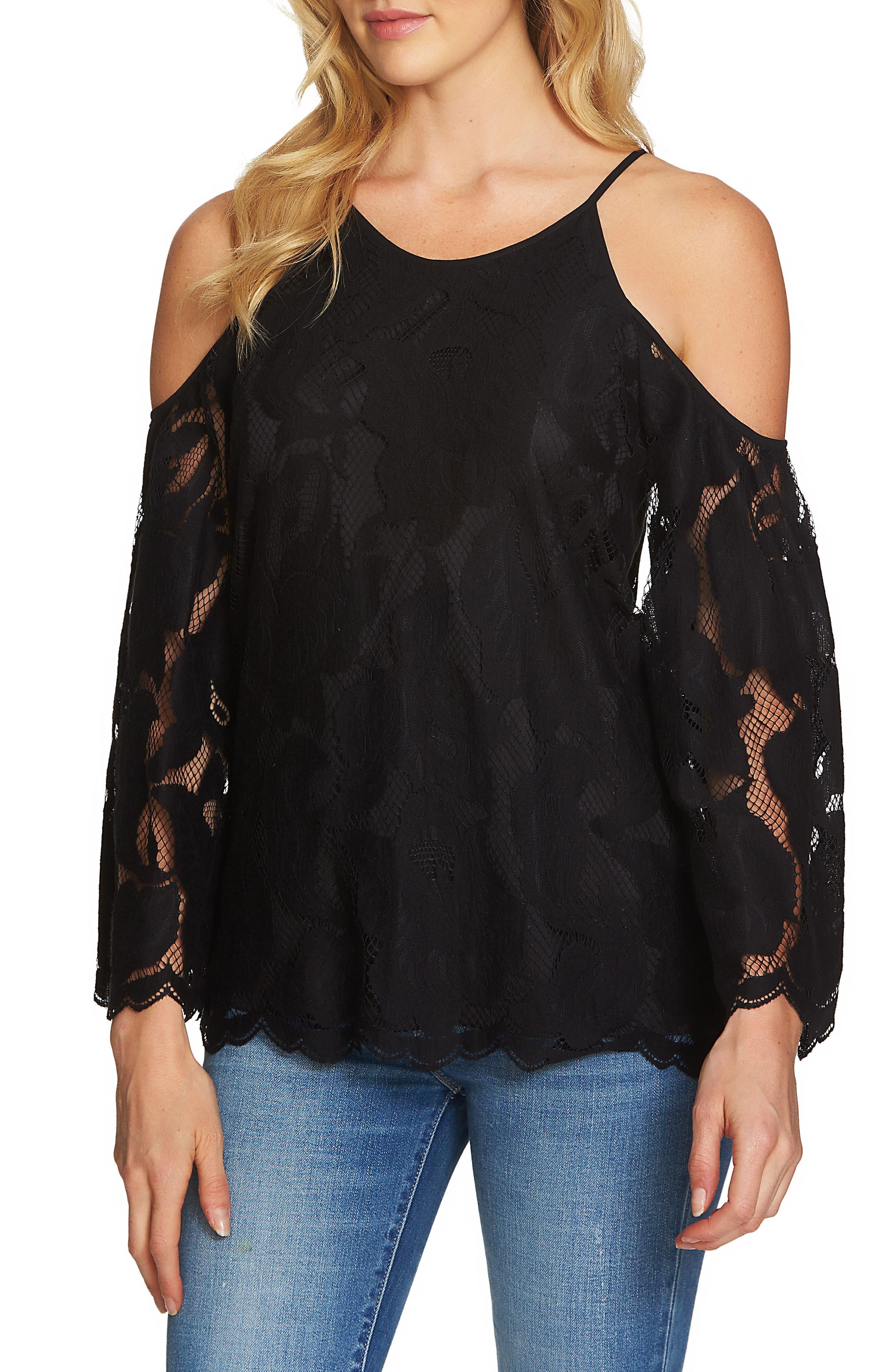 Cold Shoulder Lace Top,                         Main,                         color, Rich Black