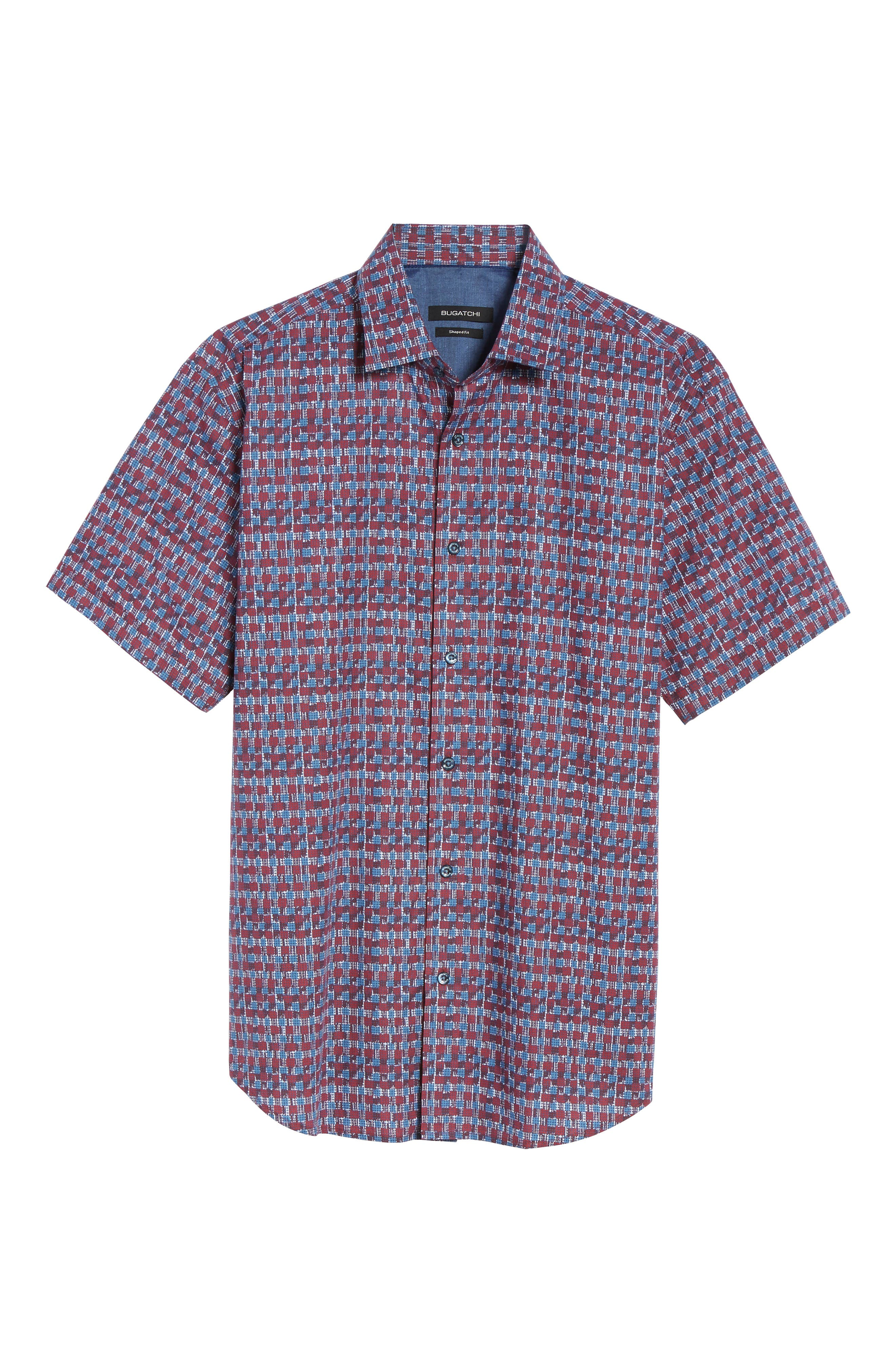 Shaped Fit Abstract Check Sport Shirt,                             Alternate thumbnail 6, color,                             Ruby