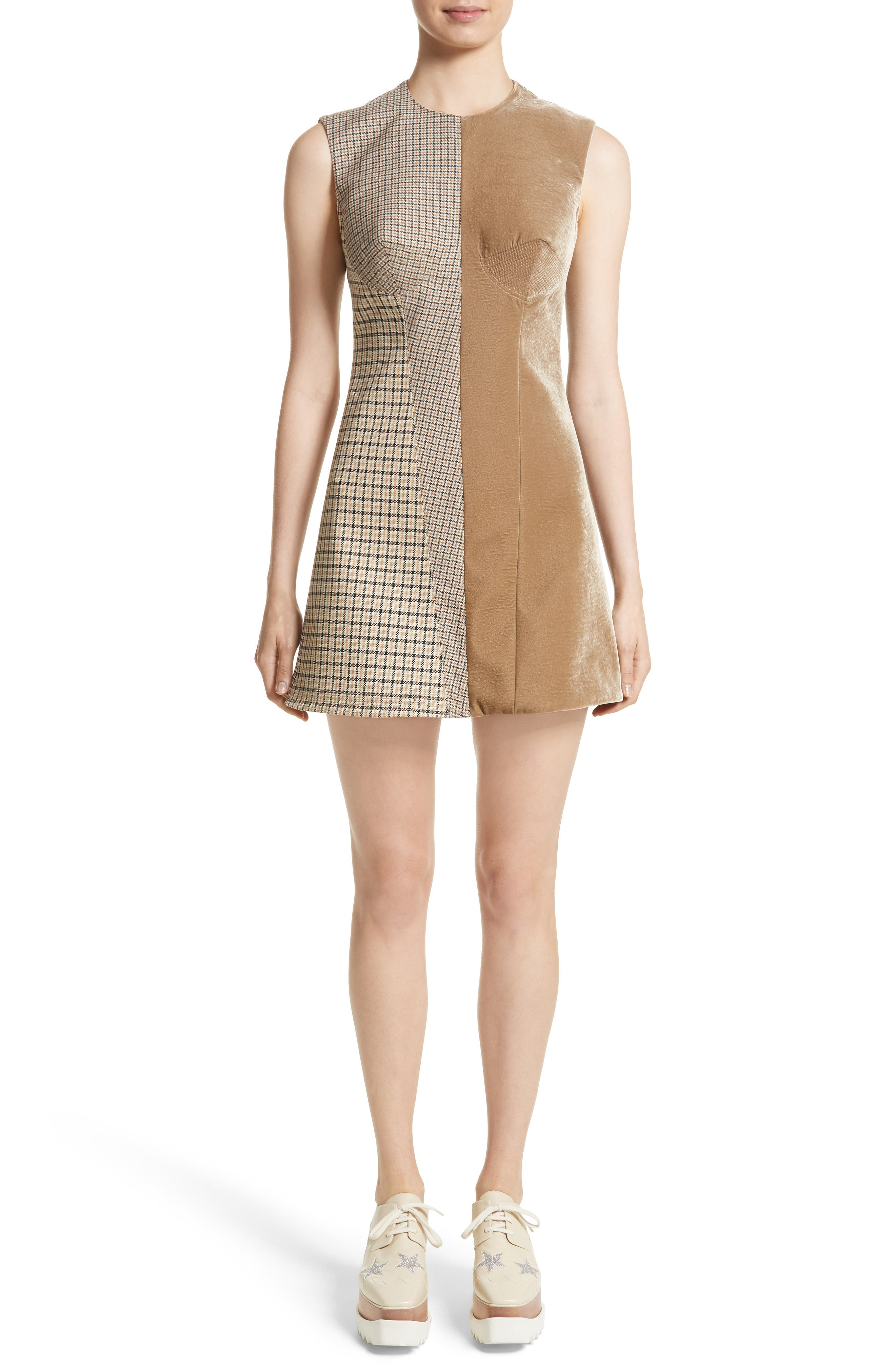 Main Image - Stella McCartney Bonded Velvet & Check Mixed Media Dress