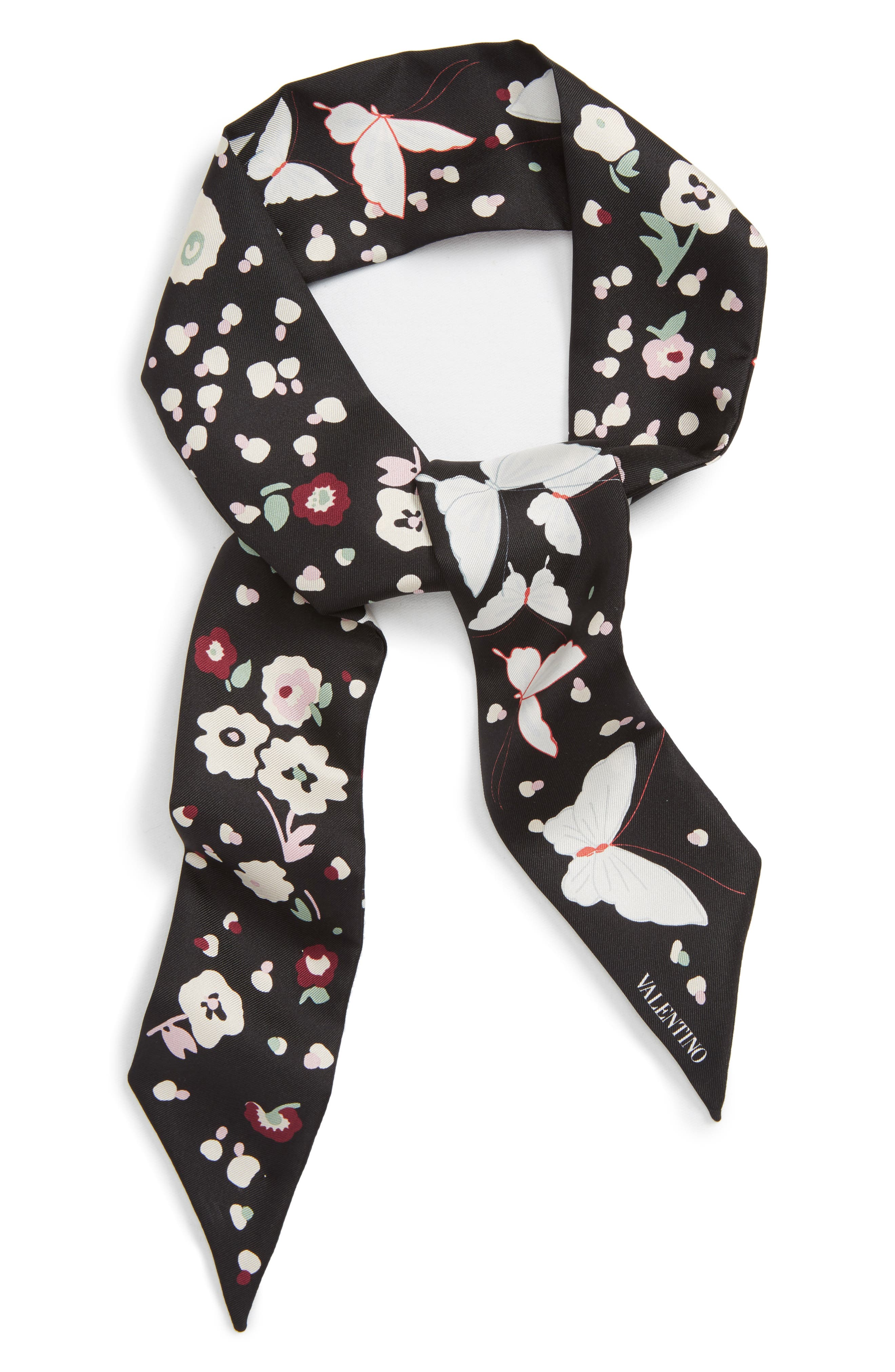 Butterfly Skinny Silk Scarf,                             Alternate thumbnail 2, color,                             Nero