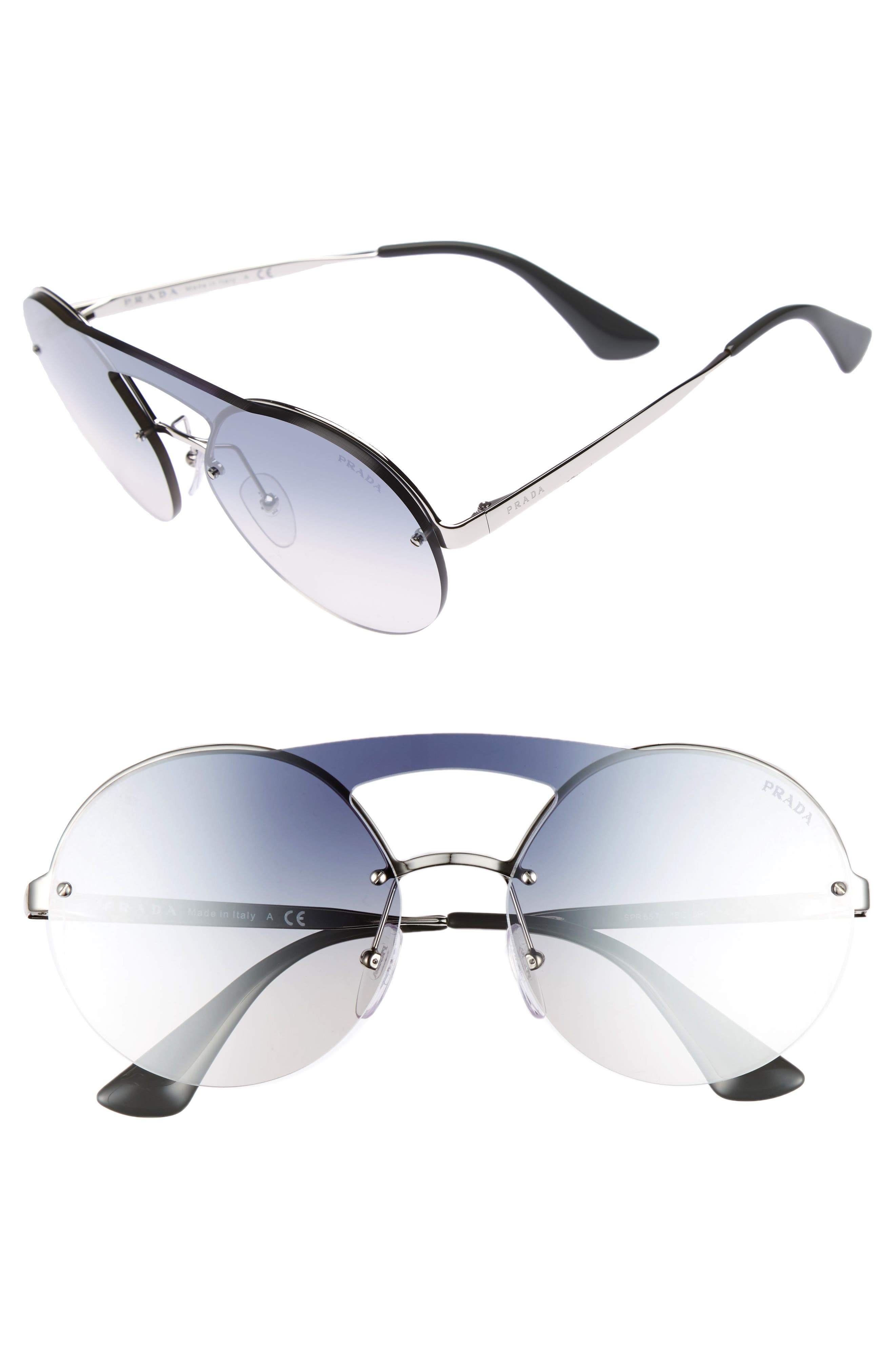 60mm Rimless Shield Sunglasses,                             Main thumbnail 1, color,                             Silver/ Blue