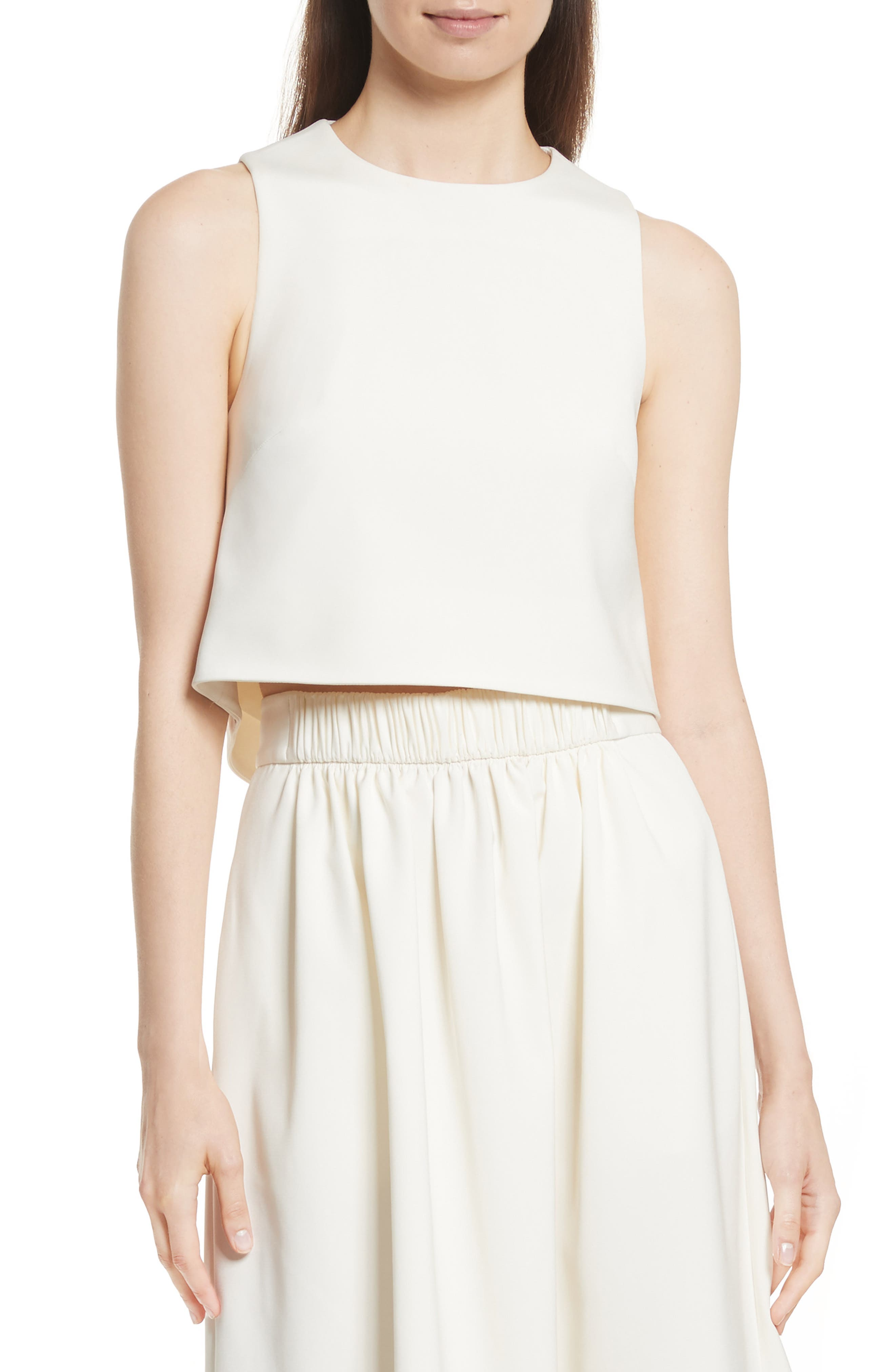 Cutout Back Stretch Faille Top,                             Main thumbnail 1, color,                             Ivory