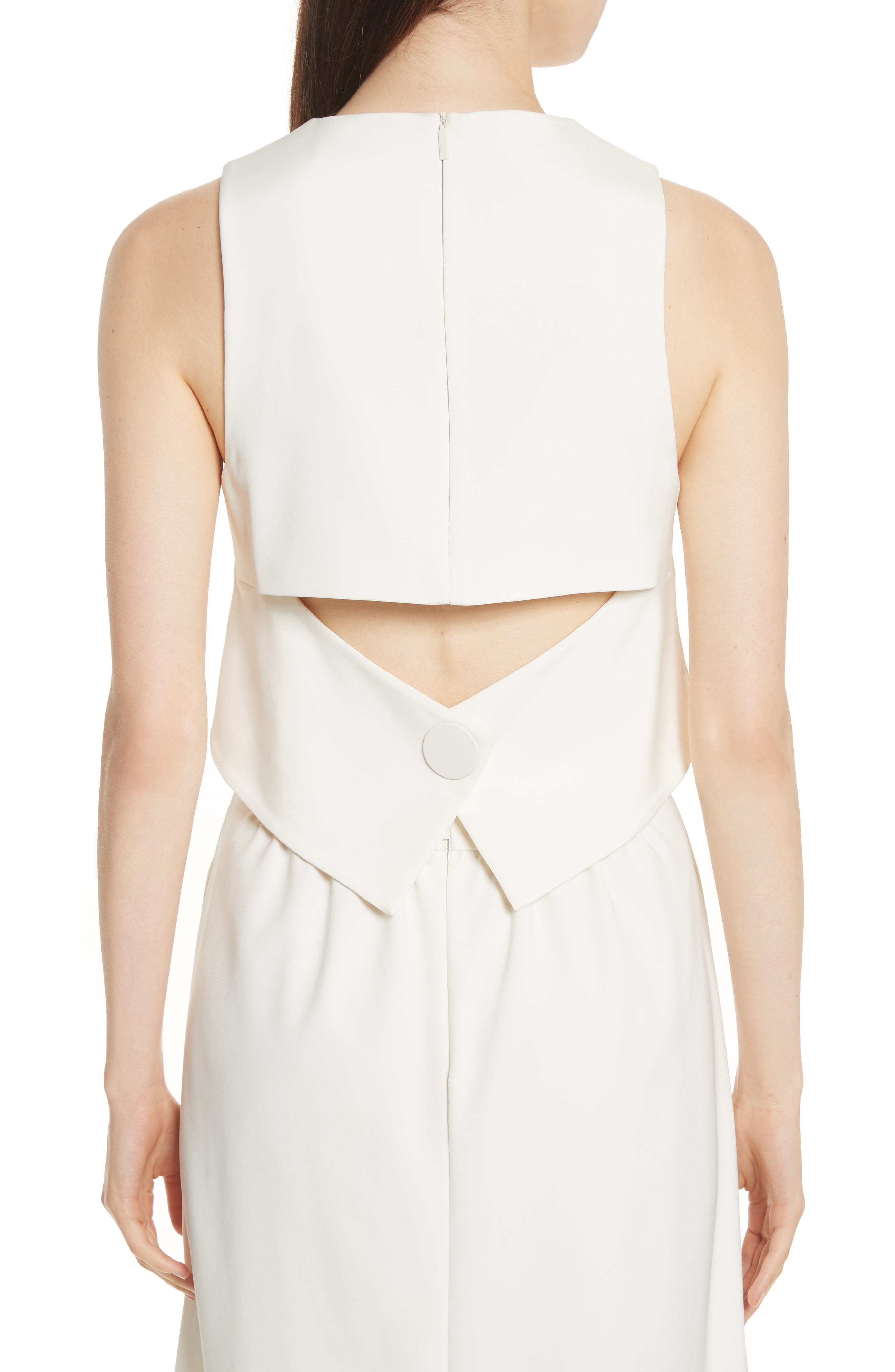 Cutout Back Stretch Faille Top,                             Alternate thumbnail 2, color,                             Ivory