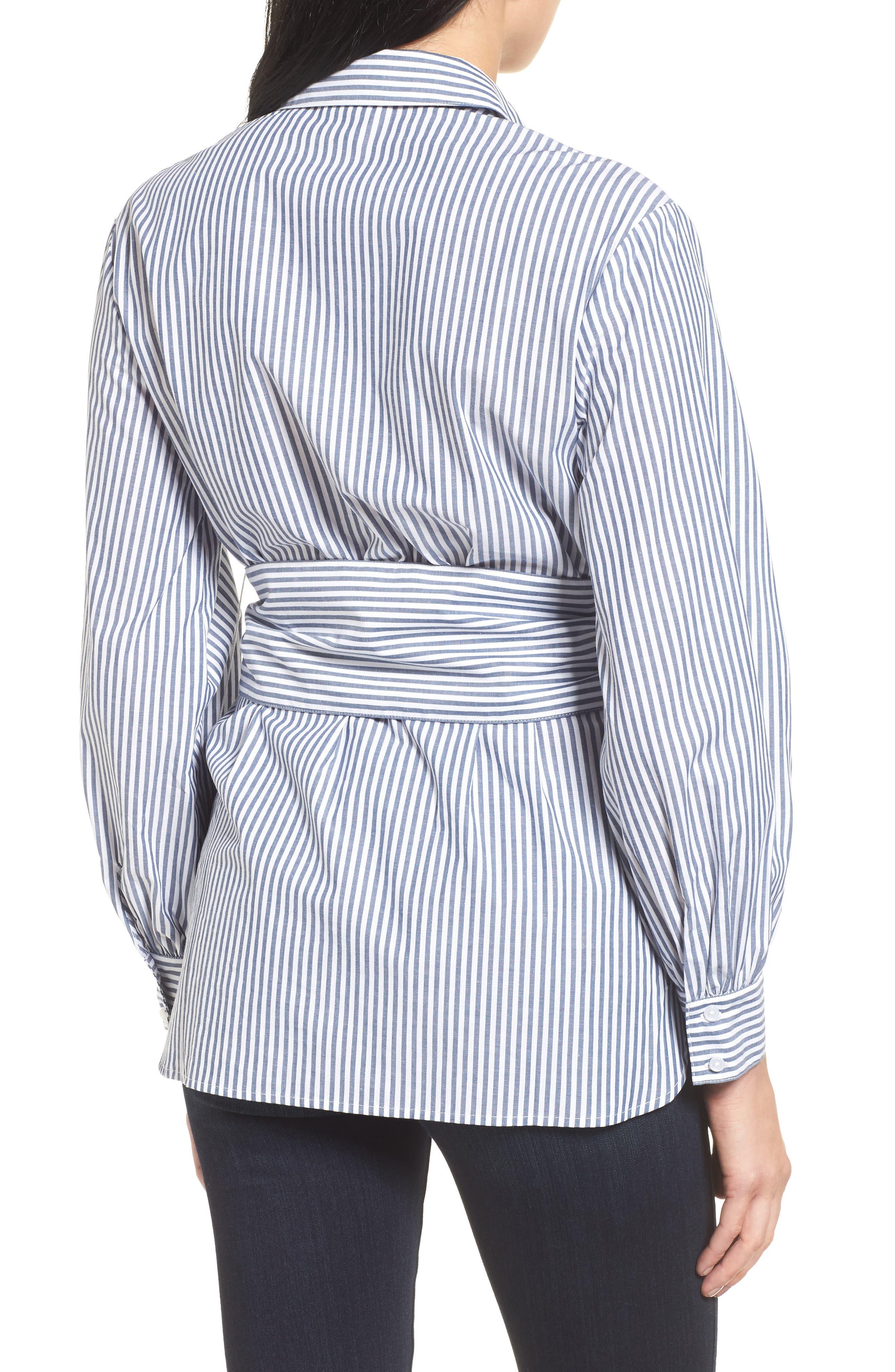 Poplin Corset Blouse,                             Alternate thumbnail 3, color,                             Blue/ White Stripe