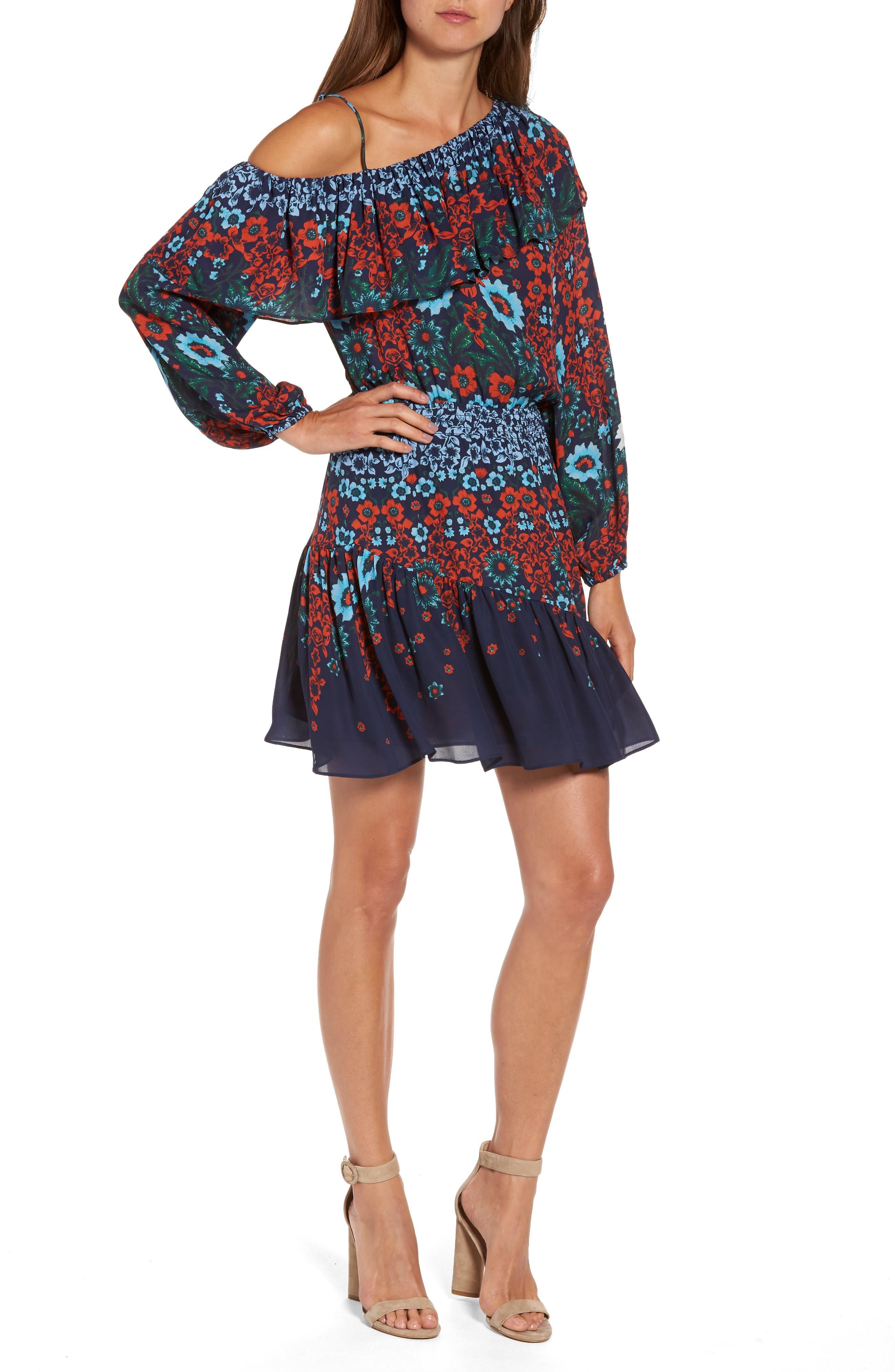 Parker Clarisse One-Shoulder Silk Dress