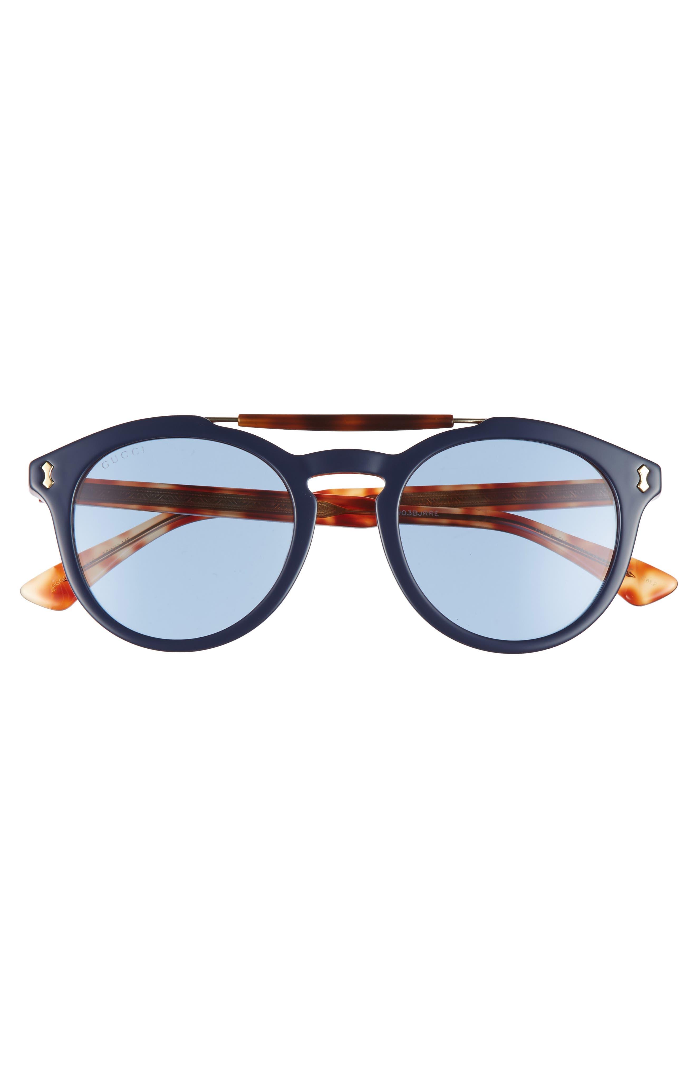 Vintage Pilot 50mm Sunglasses,                             Alternate thumbnail 2, color,                             Blue-Red/ Blue