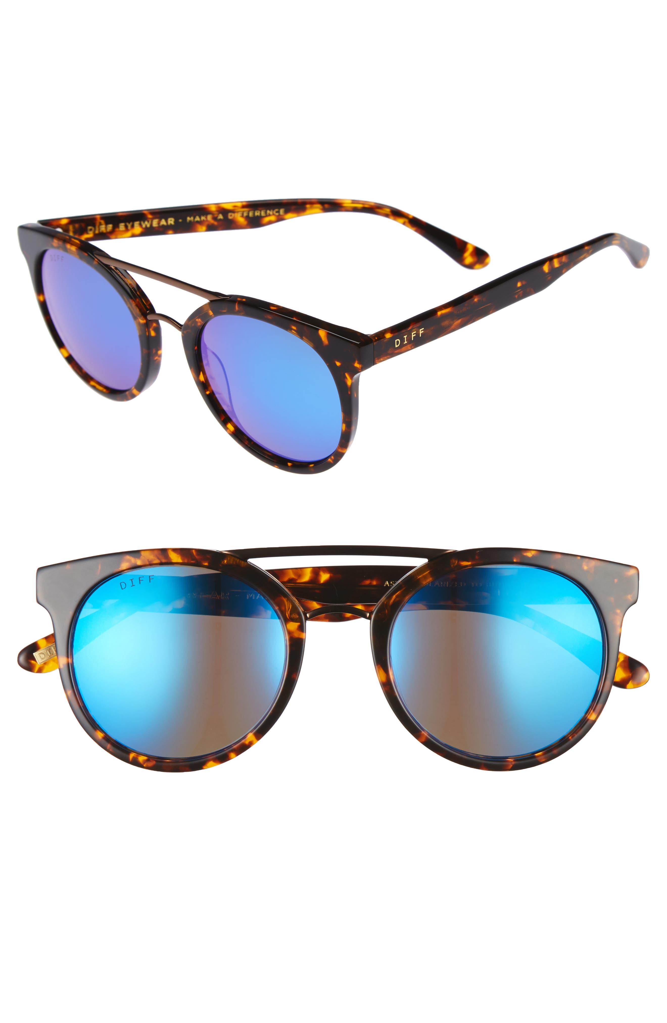 Main Image - DIFF Astro 49mm Polarized Aviator Sunglasses