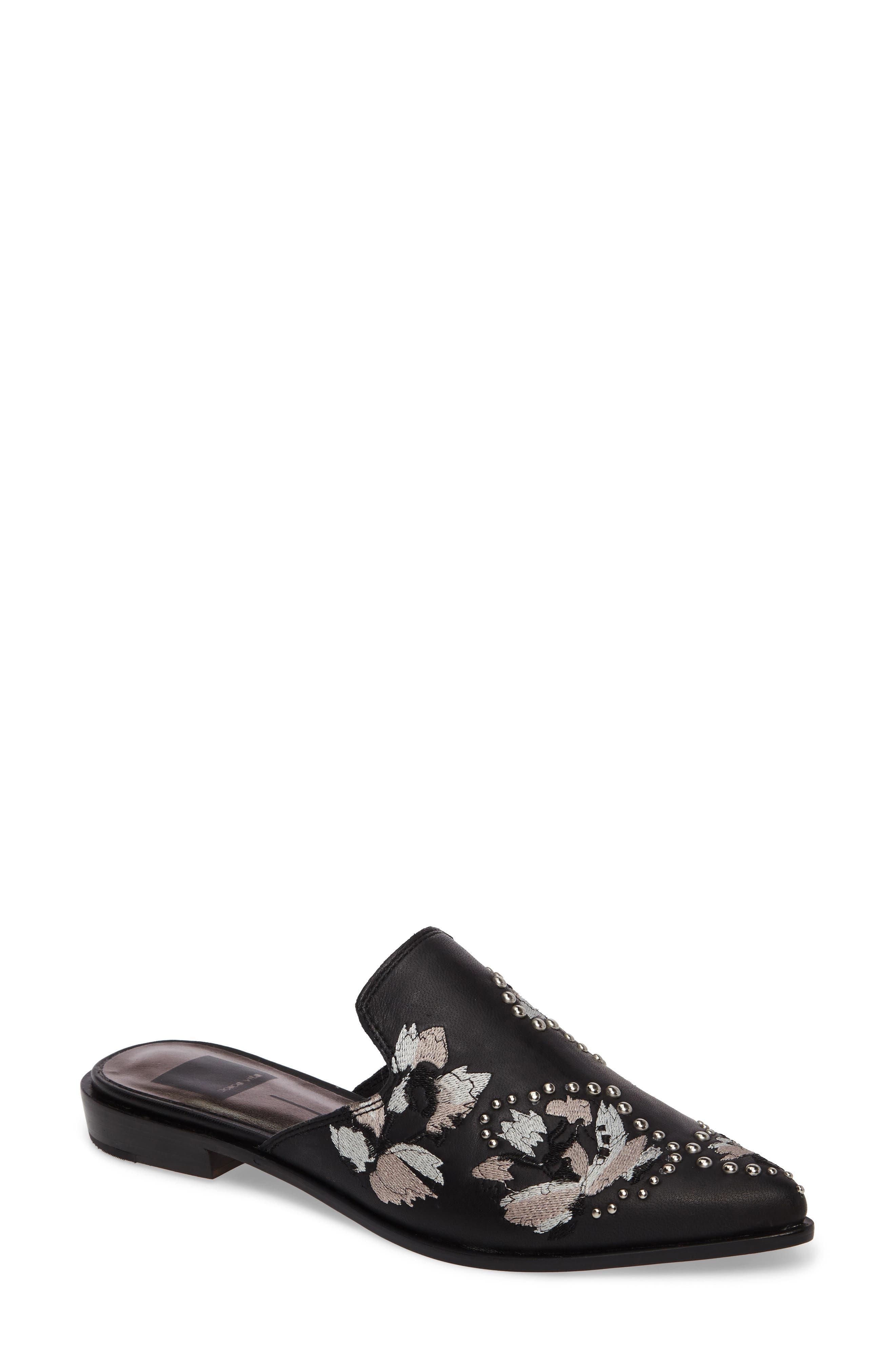 Harmony Embellished Loafer Mule,                         Main,                         color, Black Leather