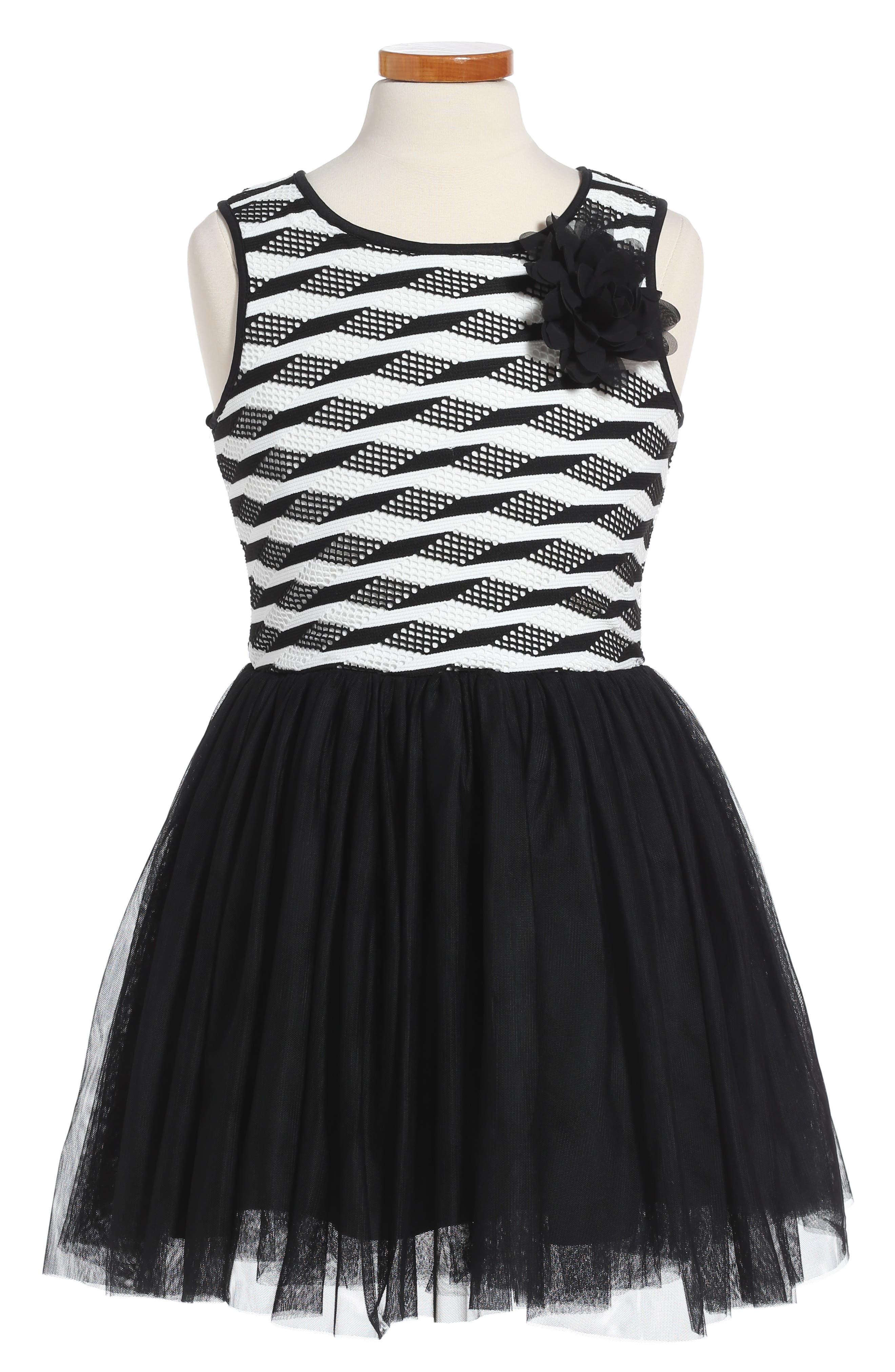 Stripe Tutu Dress,                             Main thumbnail 1, color,                             Black/ White