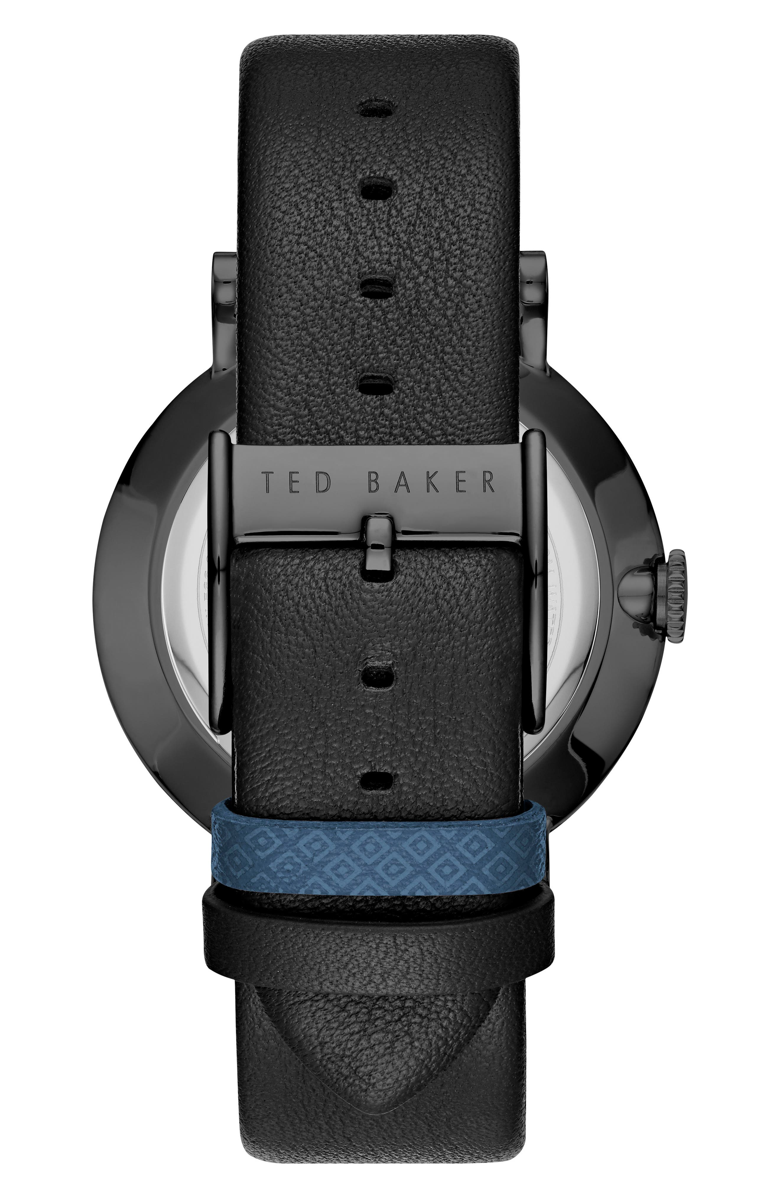 Connor Leather Strap Watch, 42mm,                             Alternate thumbnail 2, color,                             Dark Blue/ Black
