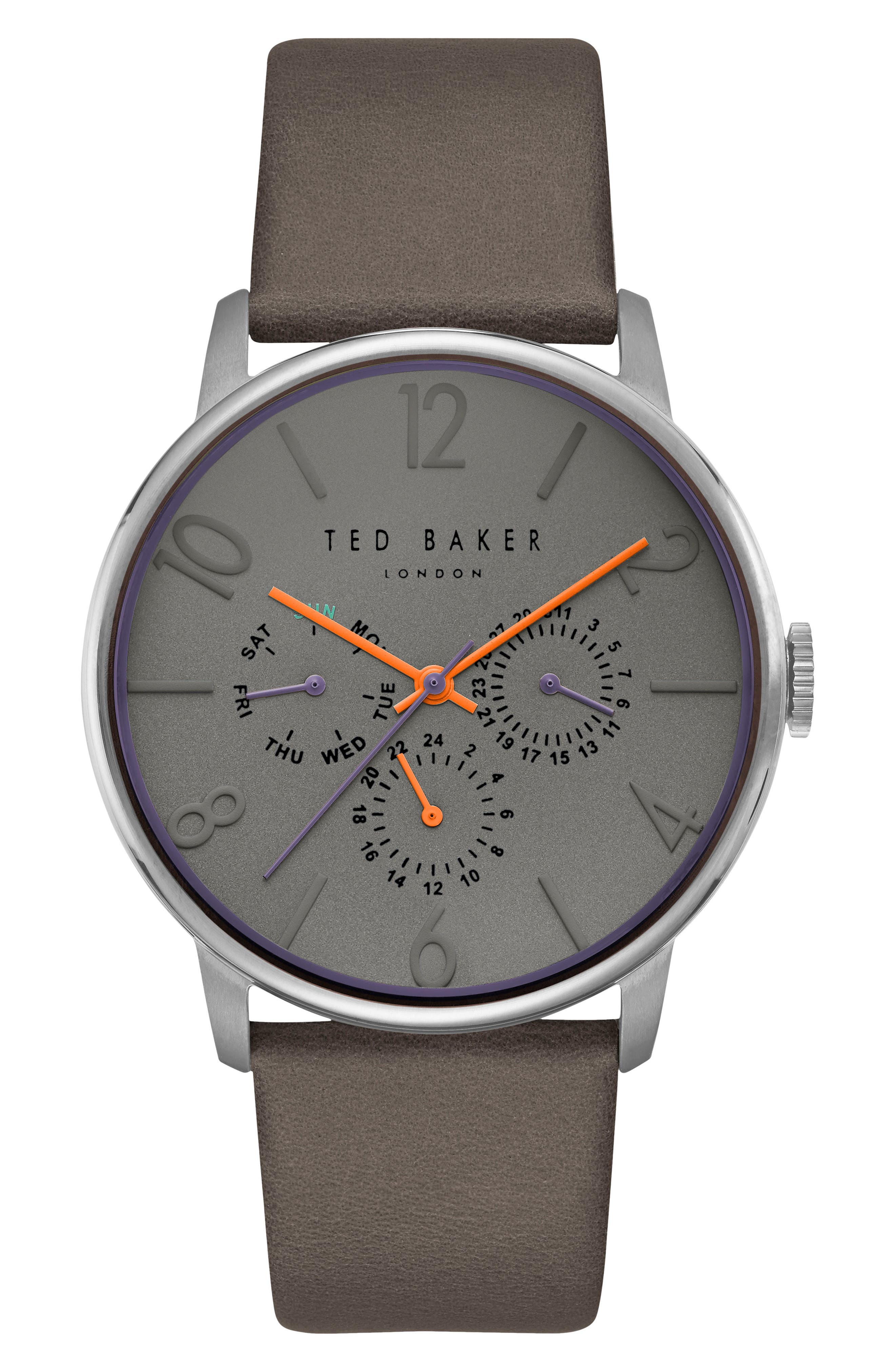 James Multifunction Leather Strap Watch, 42mm,                         Main,                         color, Light Grey/ Grey