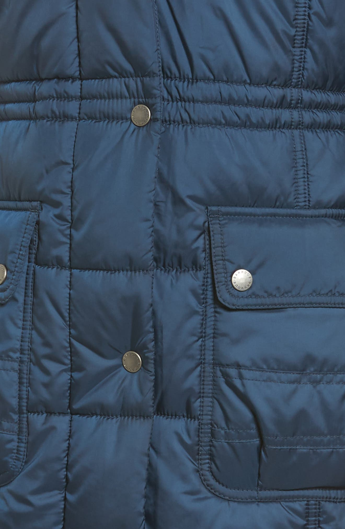 Winterton Water Resistant Hooded Quilted Jacket with Faux Fur Trim,                             Alternate thumbnail 5, color,                             French Navy