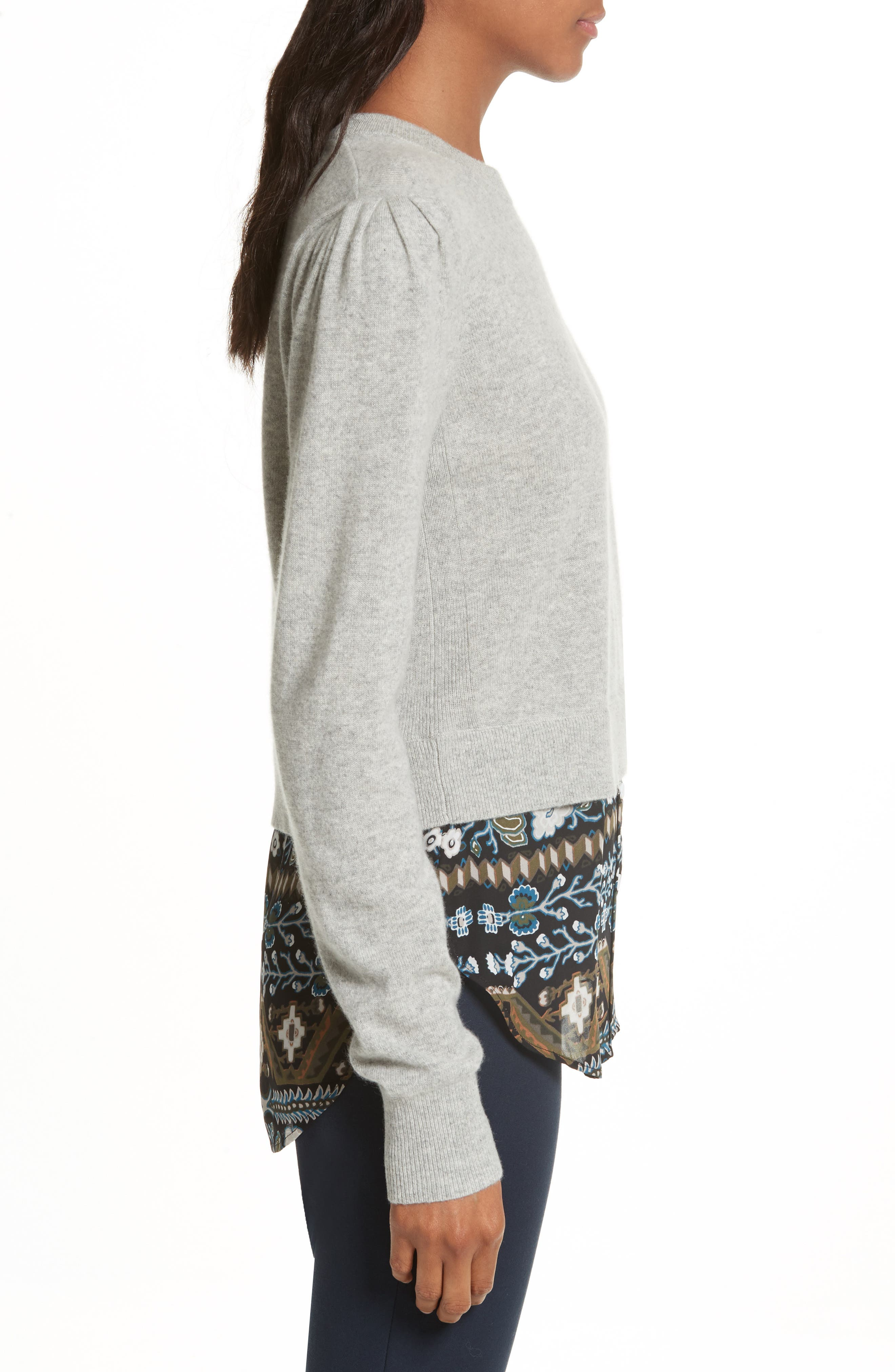 Jenson Layered Hem Cashmere Sweater,                             Alternate thumbnail 3, color,                             Grey/ Army/ Black Aztec Print