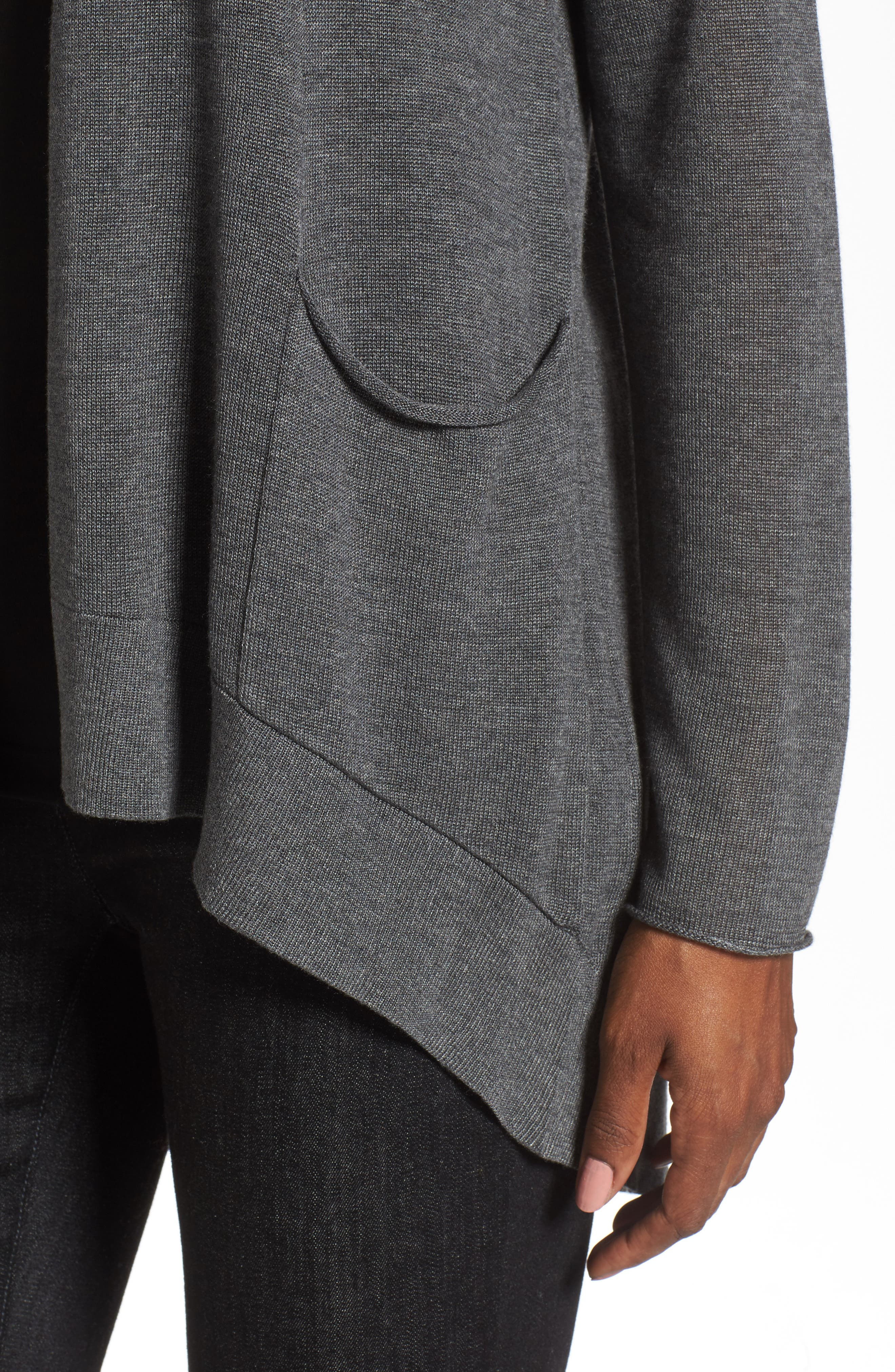 Slouchy Tencel<sup>®</sup> Blend Cardigan,                             Alternate thumbnail 4, color,                             Ash