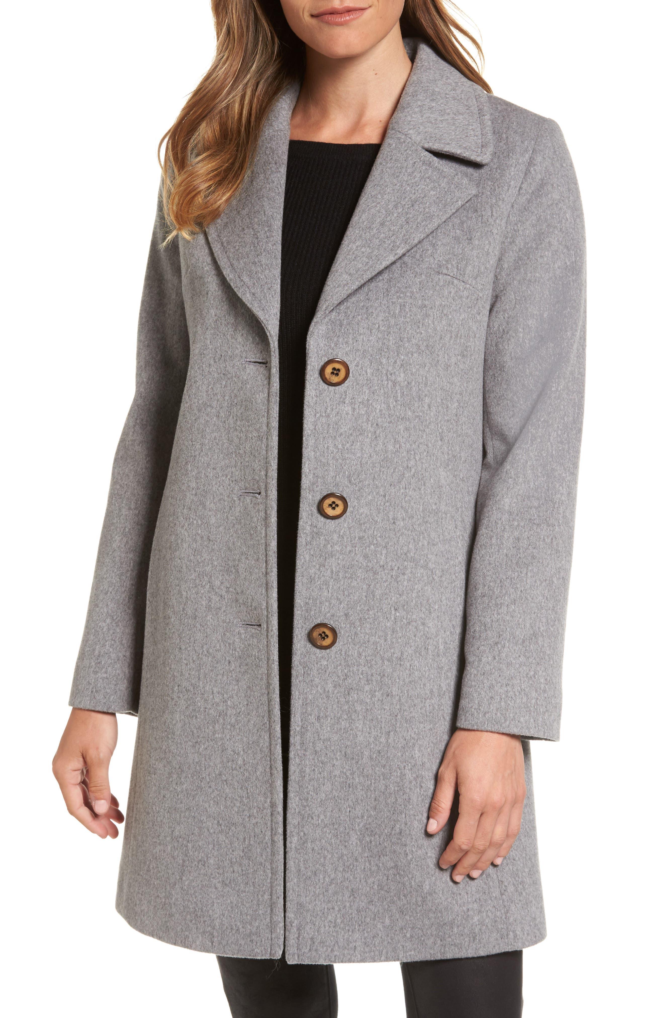Alternate Image 1 Selected - Fleurette Notch Collar Wool Walking Coat (Regular & Petite)
