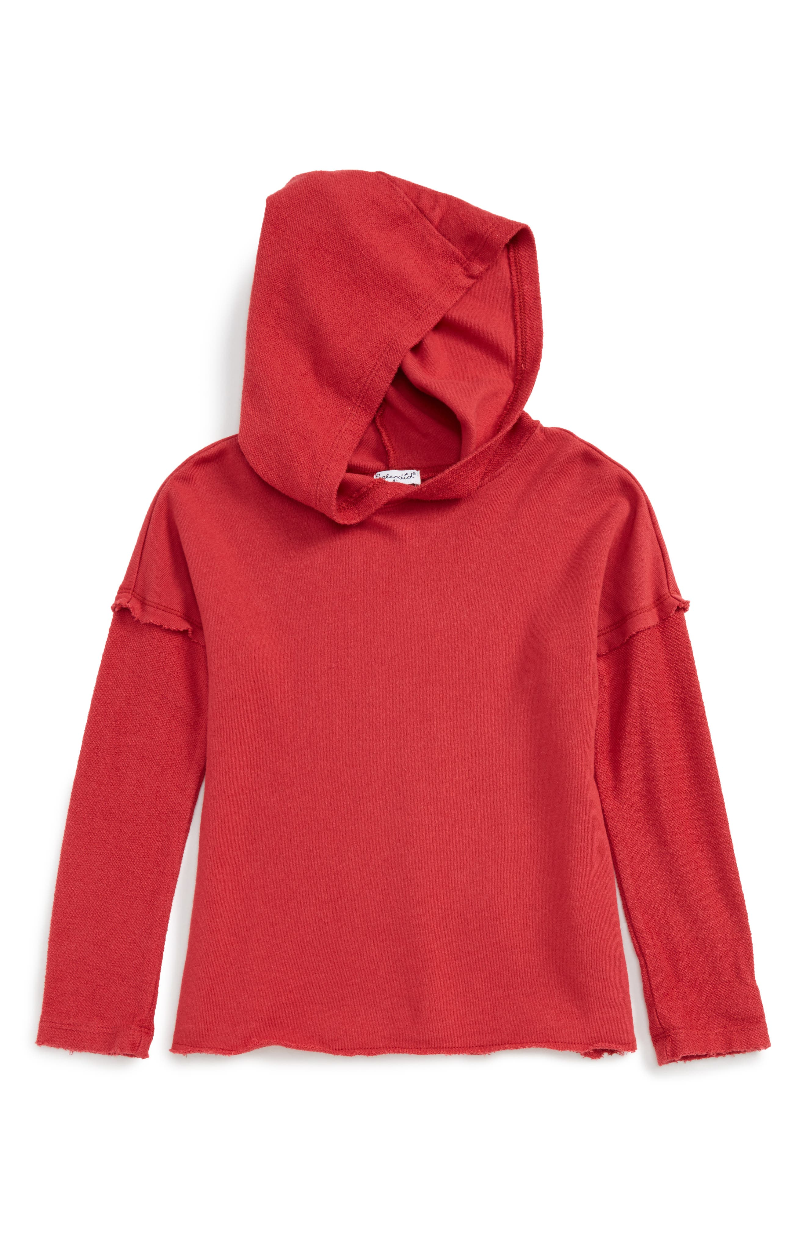 Knit Hoodie,                         Main,                         color, Red