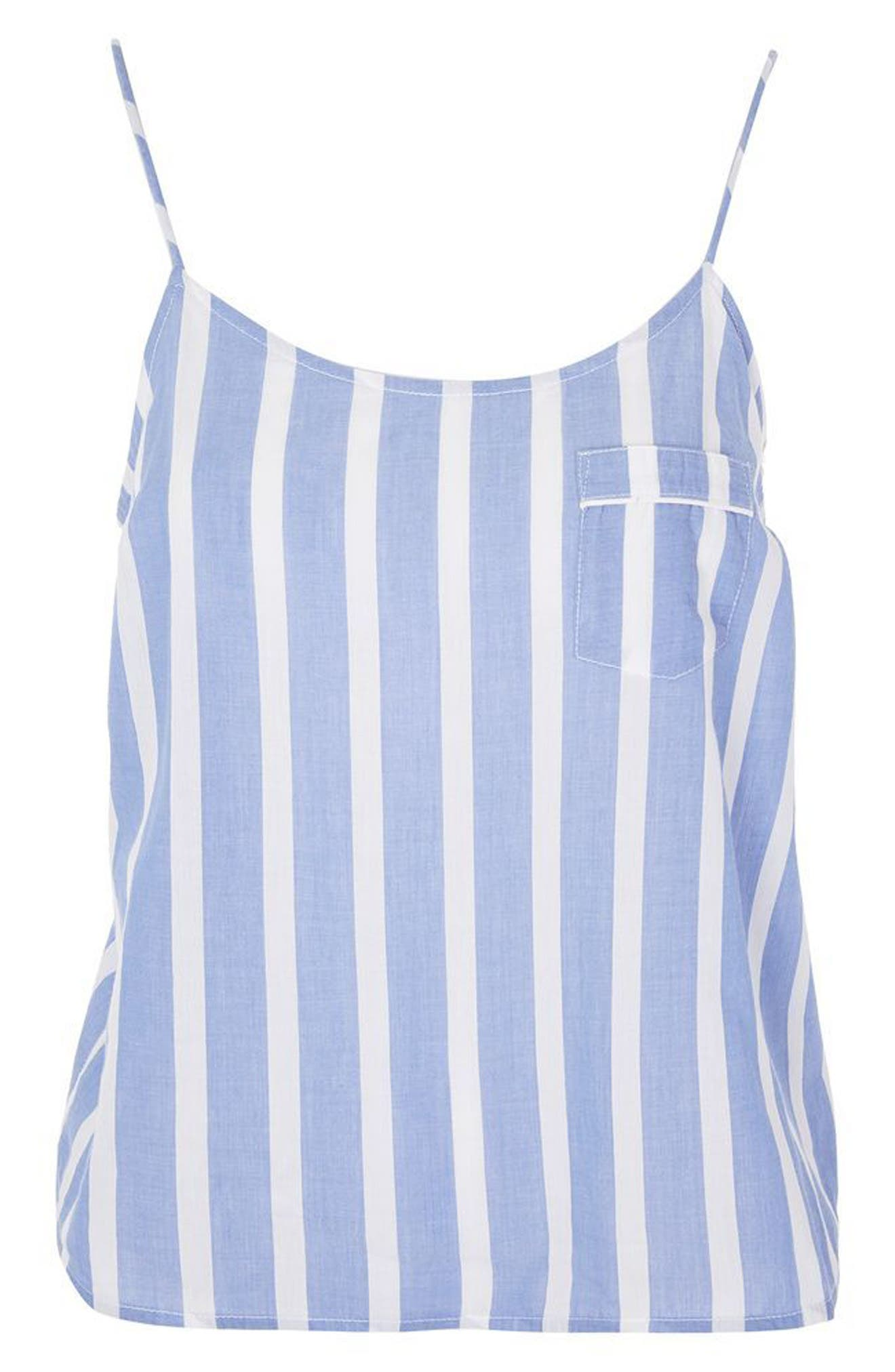 Stripe Pajama Camisole,                             Alternate thumbnail 3, color,                             Blue Multi