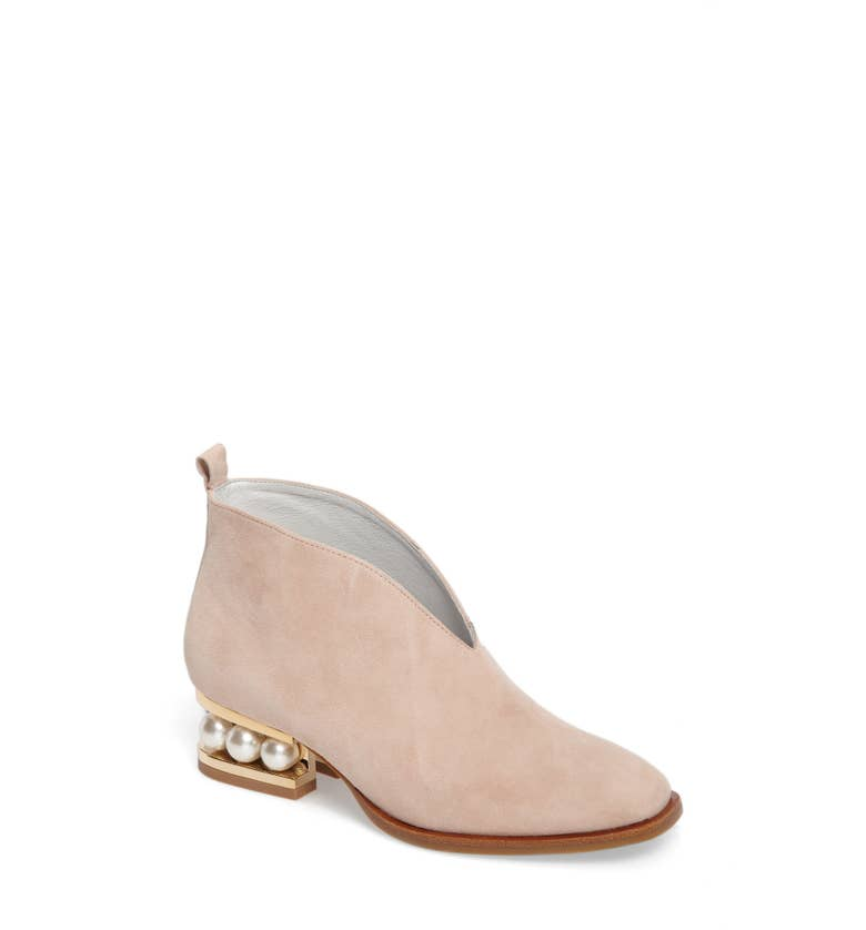 Pearl-heeled ankle boots