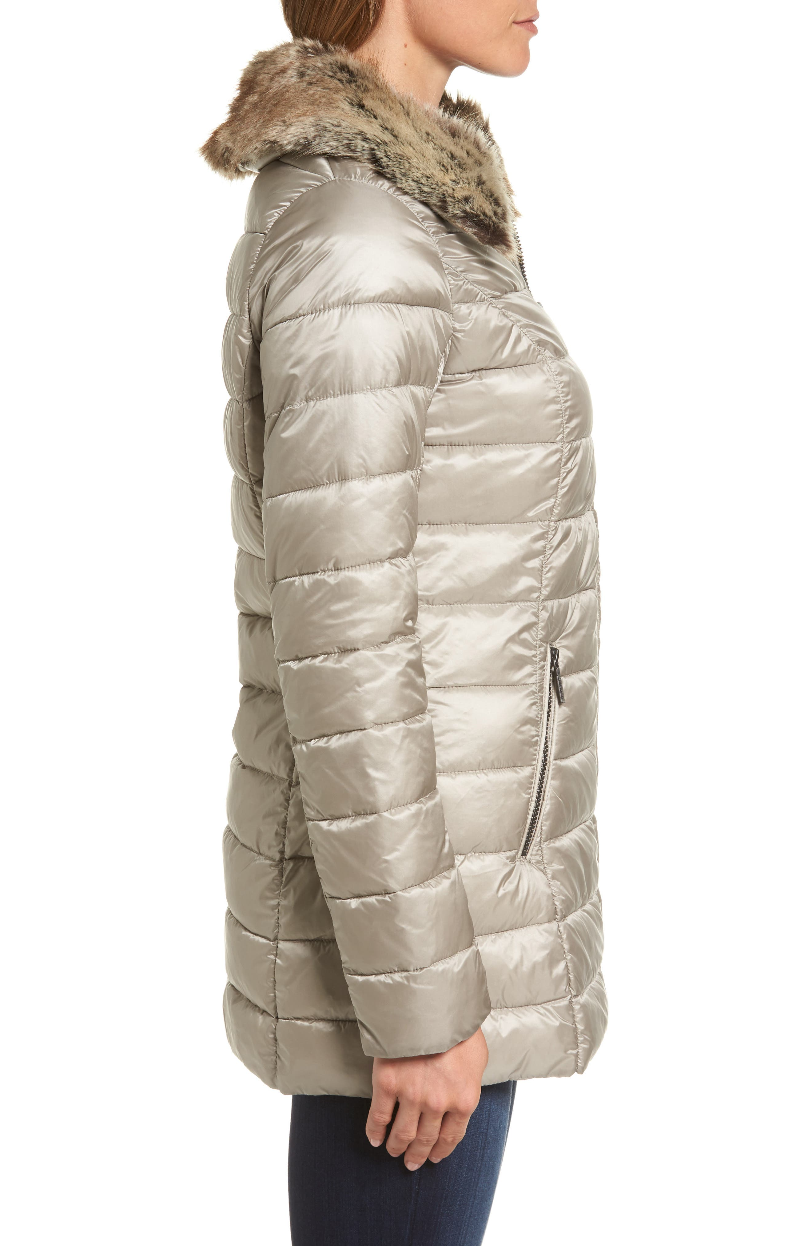Rambleton Water Resistant Quilted Jacket with Faux Fur Collar,                             Alternate thumbnail 3, color,                             Taupe