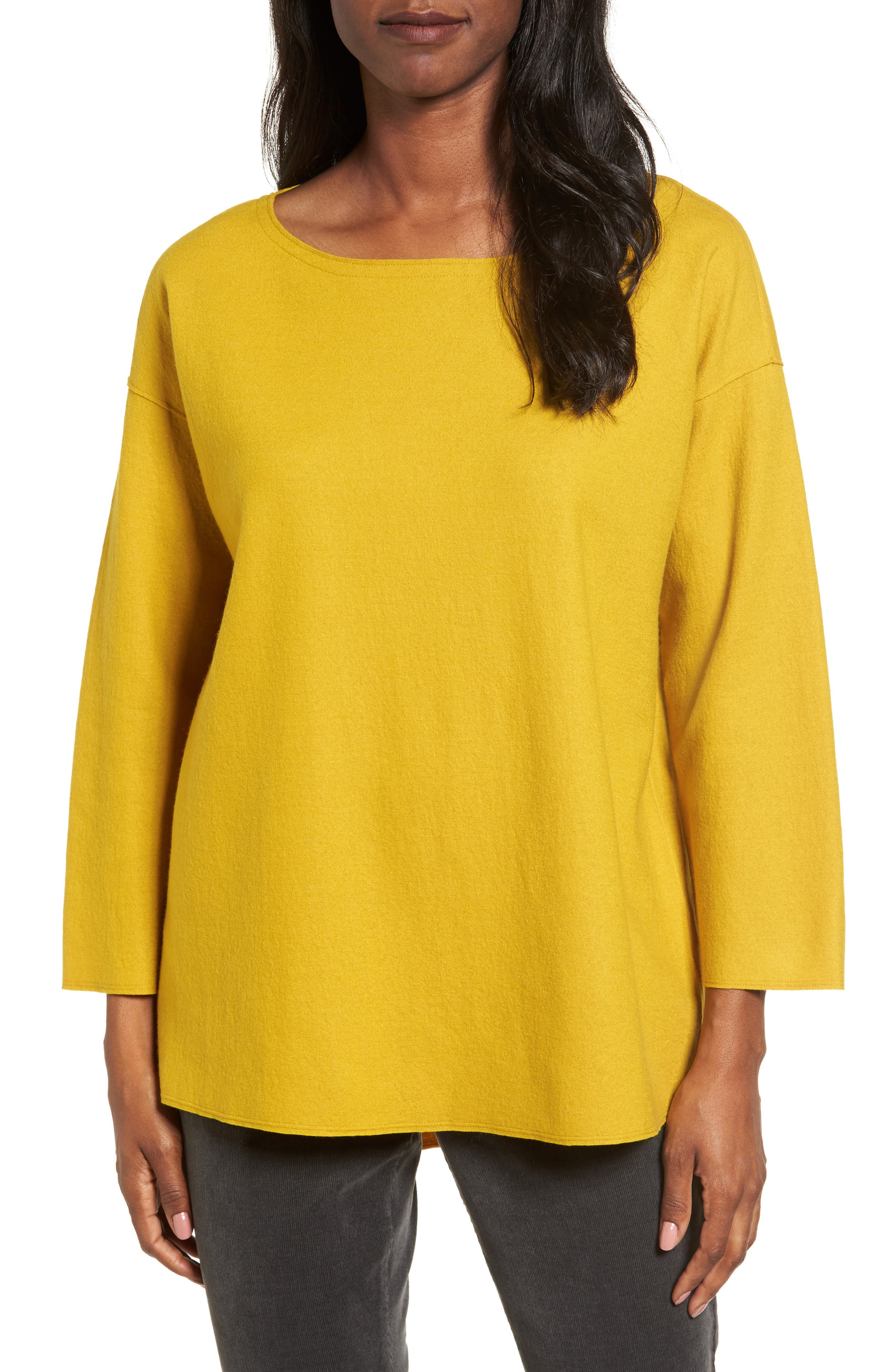 Boiled Wool Jersey Top,                         Main,                         color, Mustard Seed