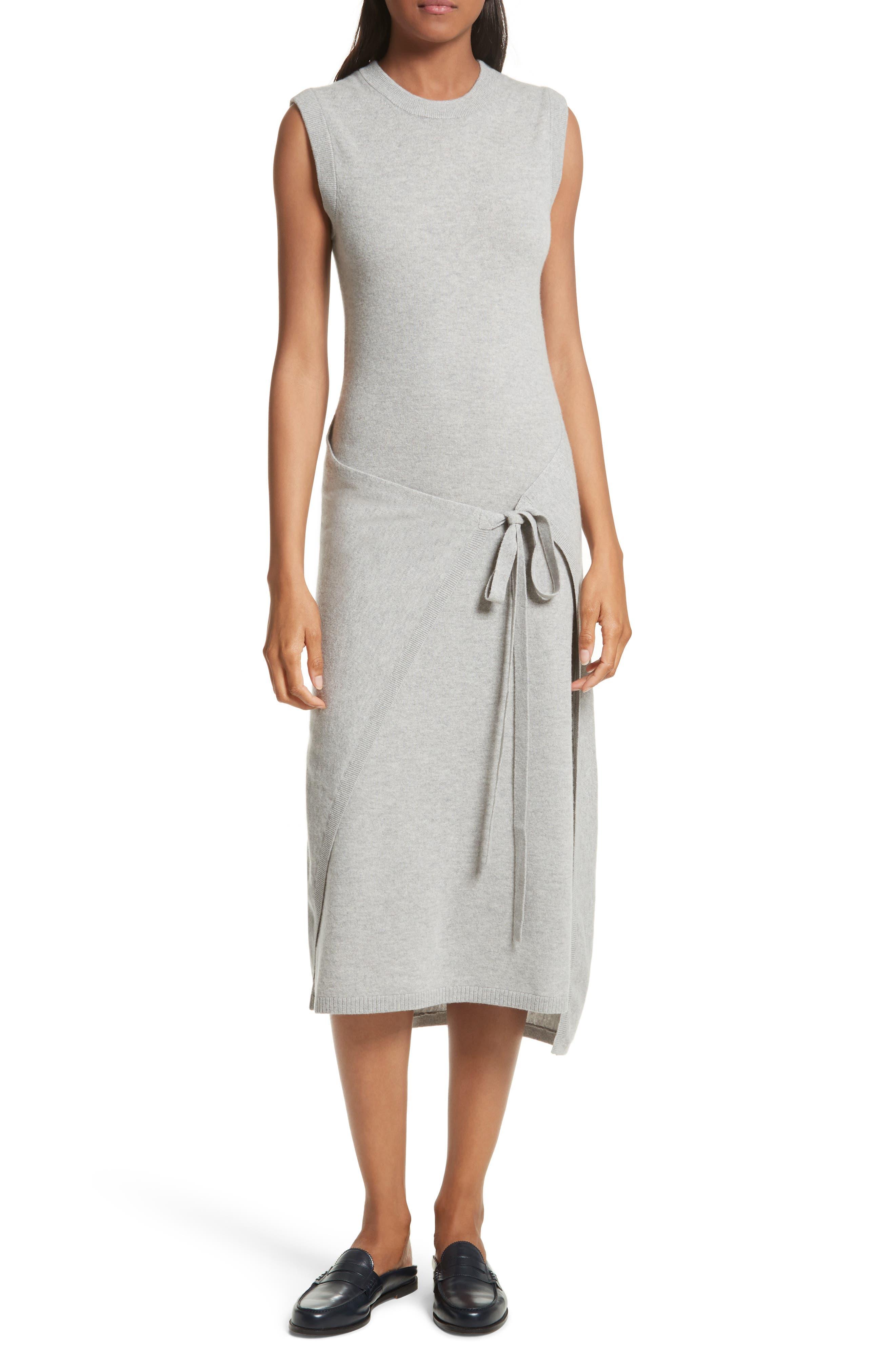 Tie Front Wool Sweater Dress,                         Main,                         color, Concrete