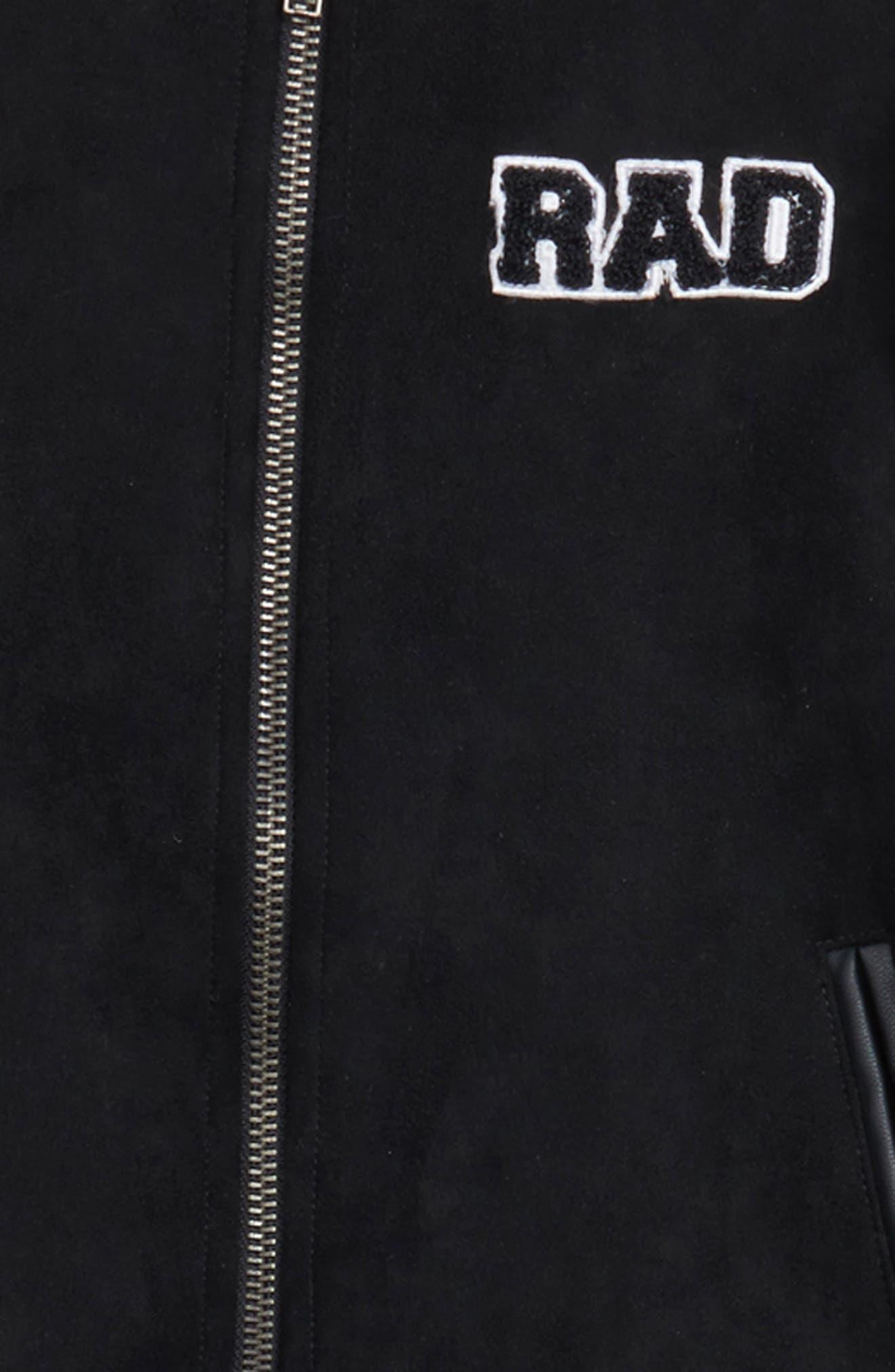 Mixed Media Bomber Jacket,                             Alternate thumbnail 3, color,                             Black