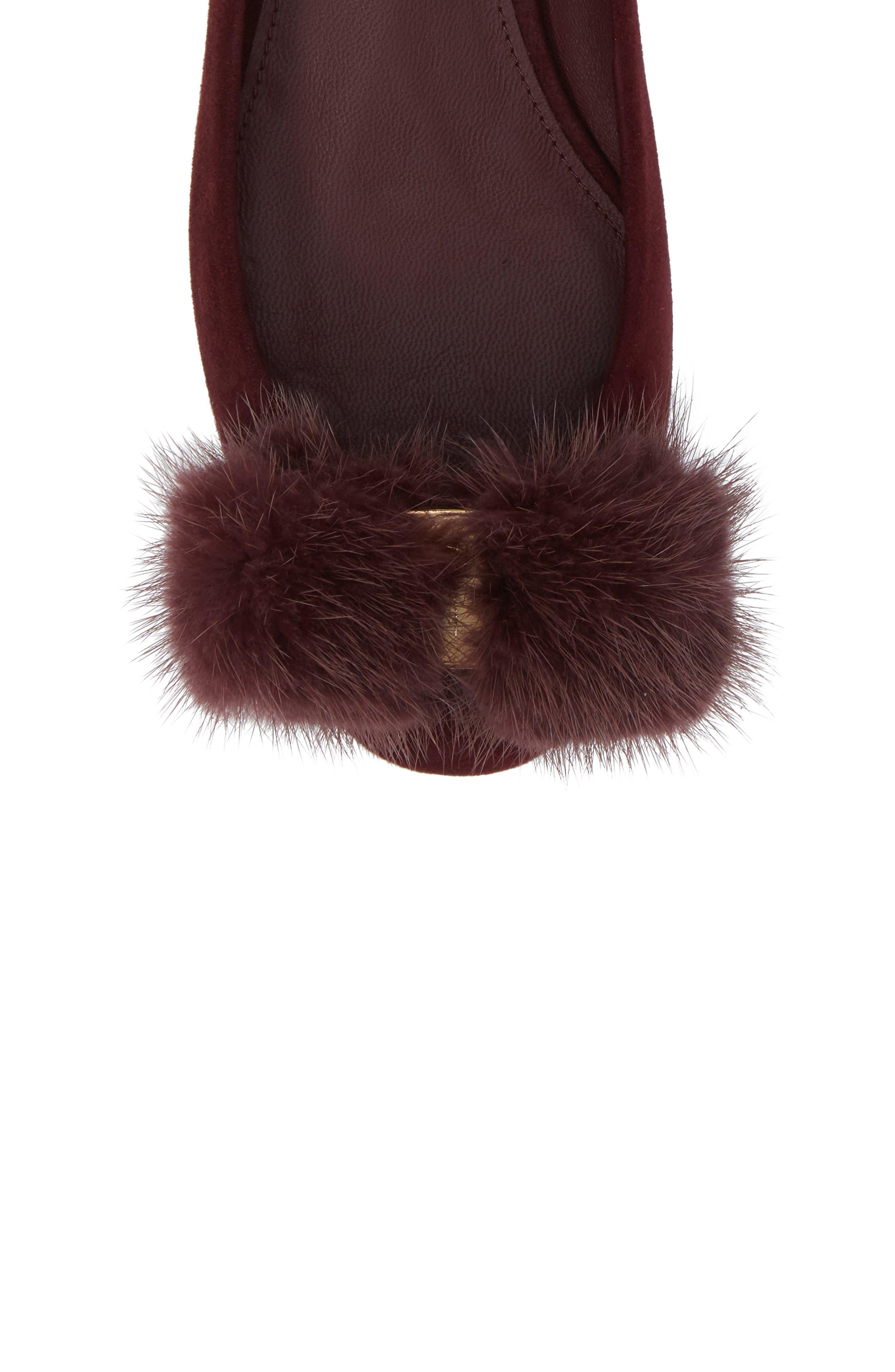 Alternate Image 5  - Salvatore Ferragamo Genuine Mink Fur Flat (Women)