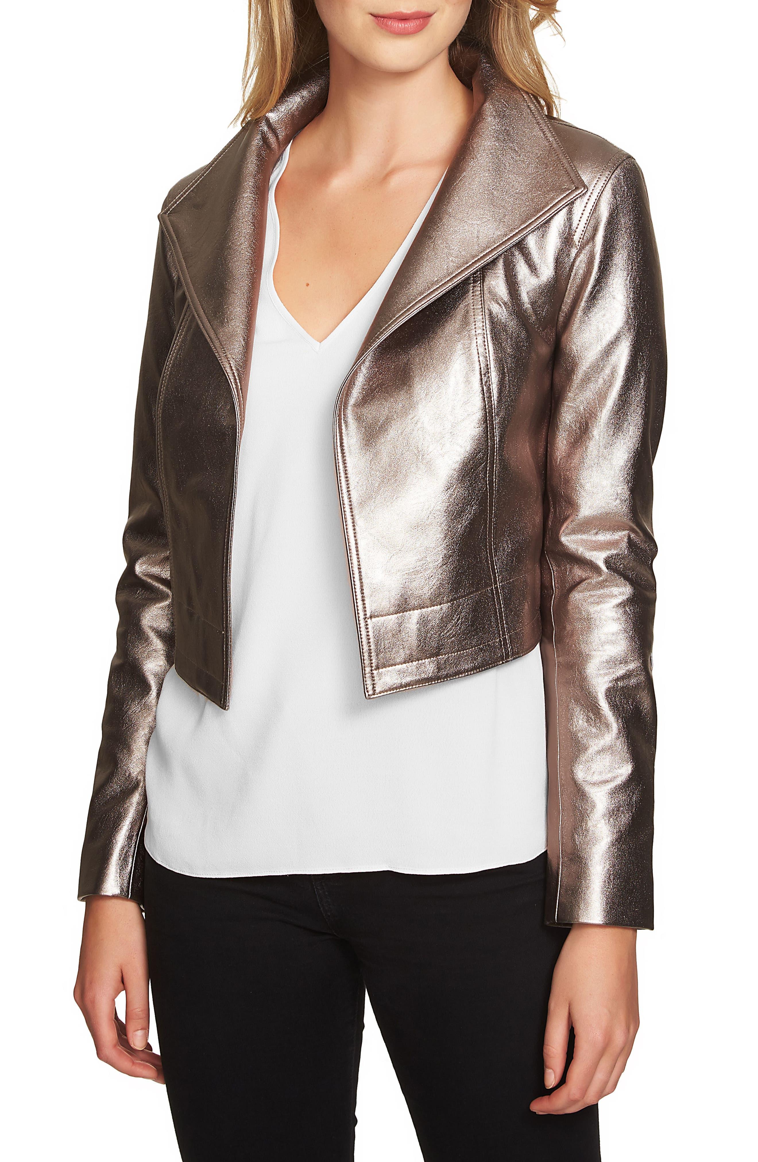 Crop Faux Leather Jacket,                         Main,                         color, Silver Foil