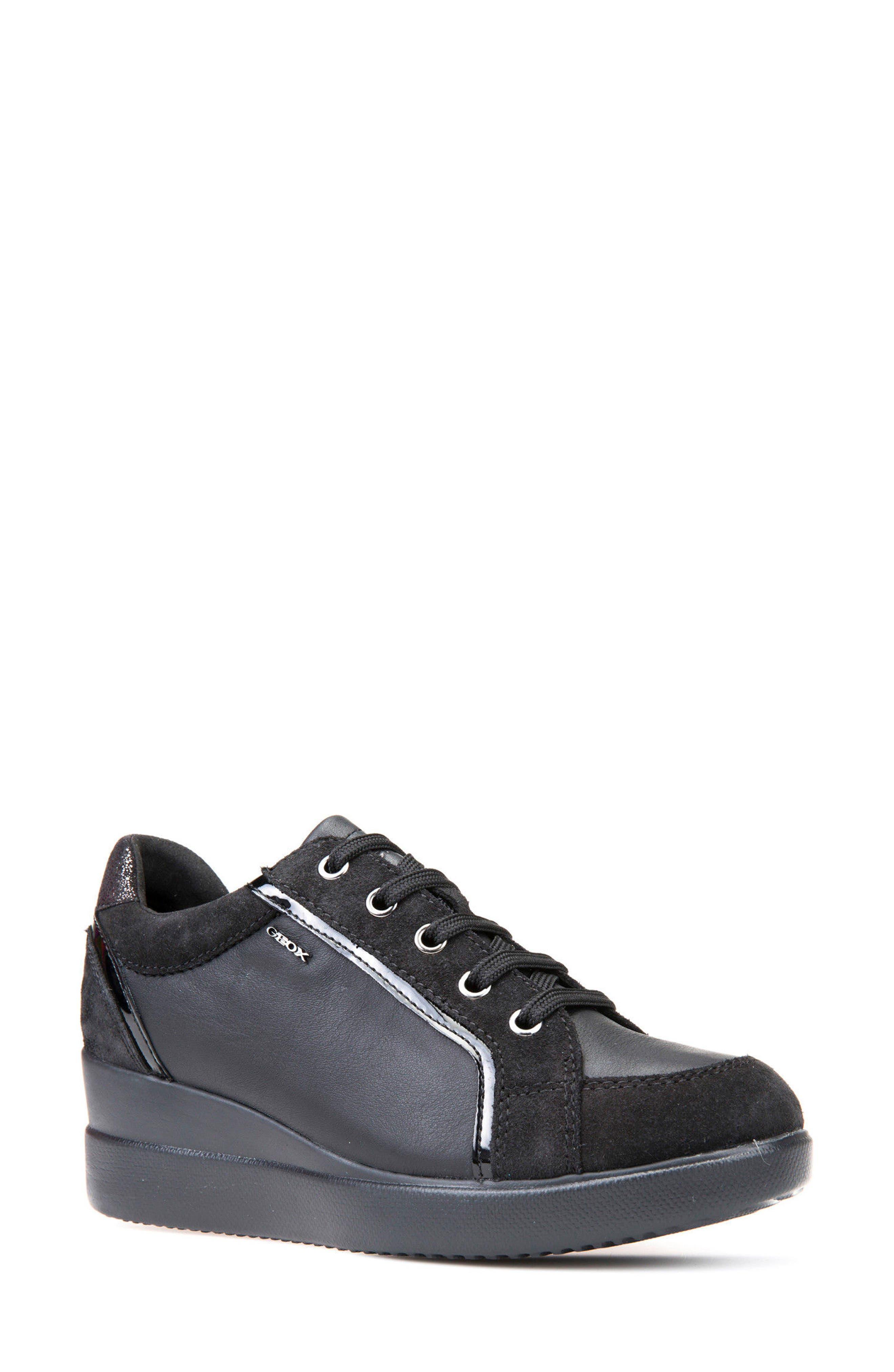 Stardust Wedge Sneaker,                         Main,                         color, Black Leather