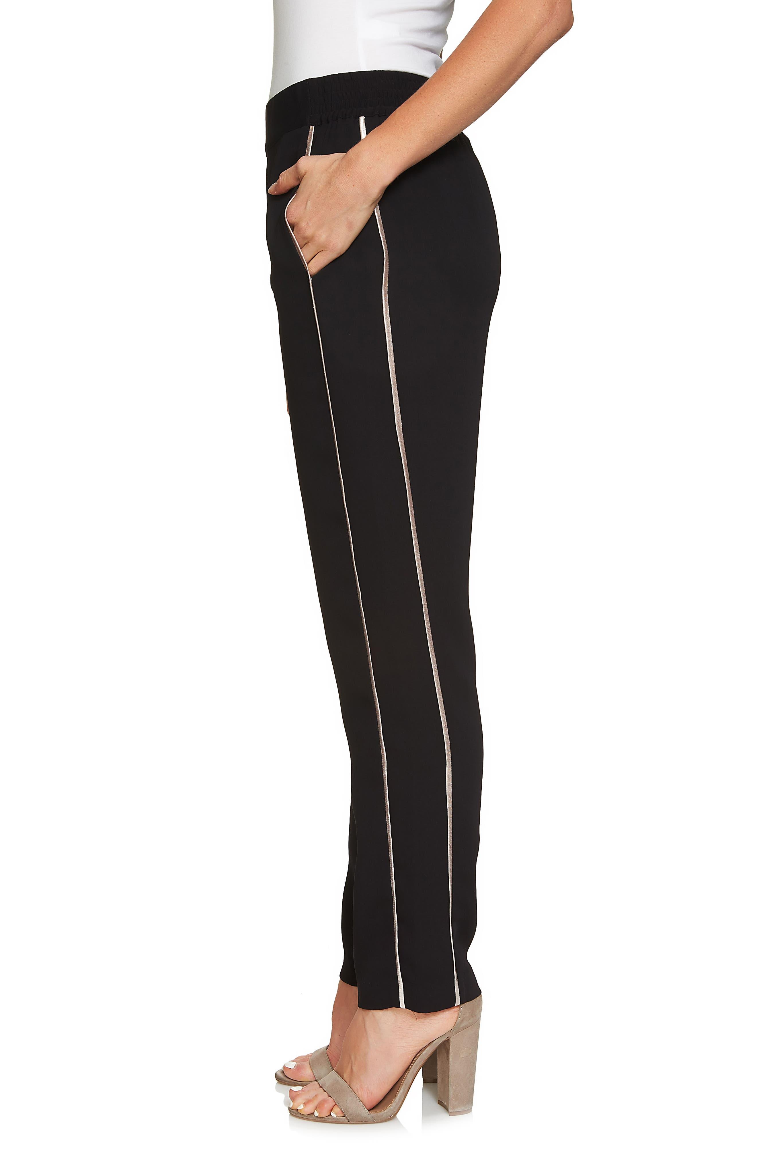 Metallic Stripe Pants,                             Alternate thumbnail 3, color,                             Rich Black