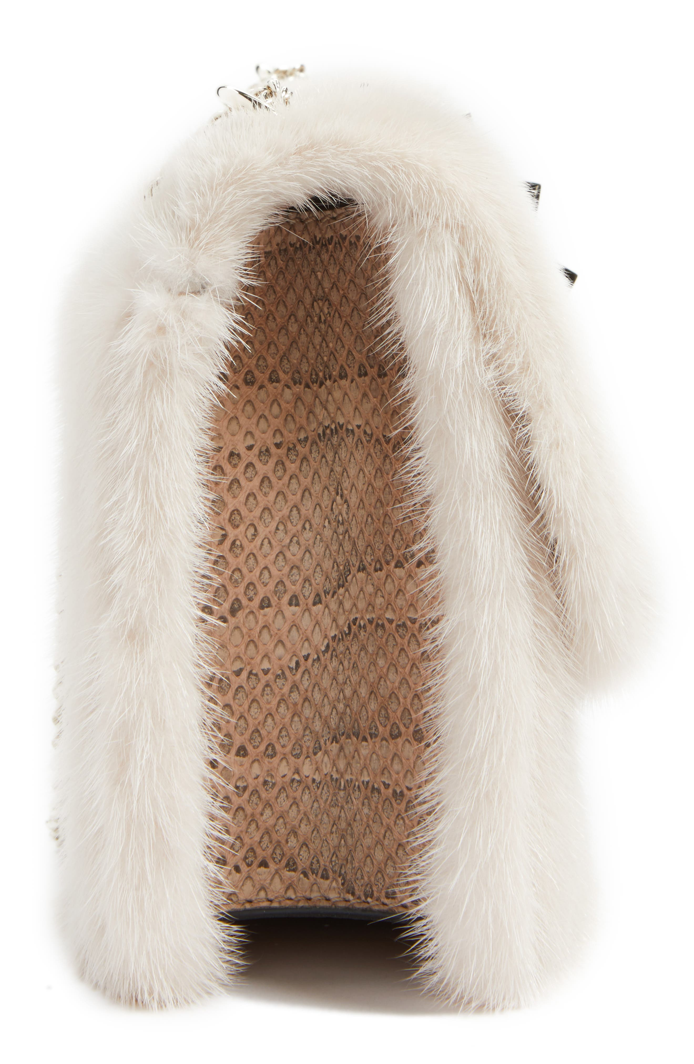 Alternate Image 4  - VALENTINO GARAVANI Small Lock Genuine Mink Fur & Snakeskin Shoulder Bag