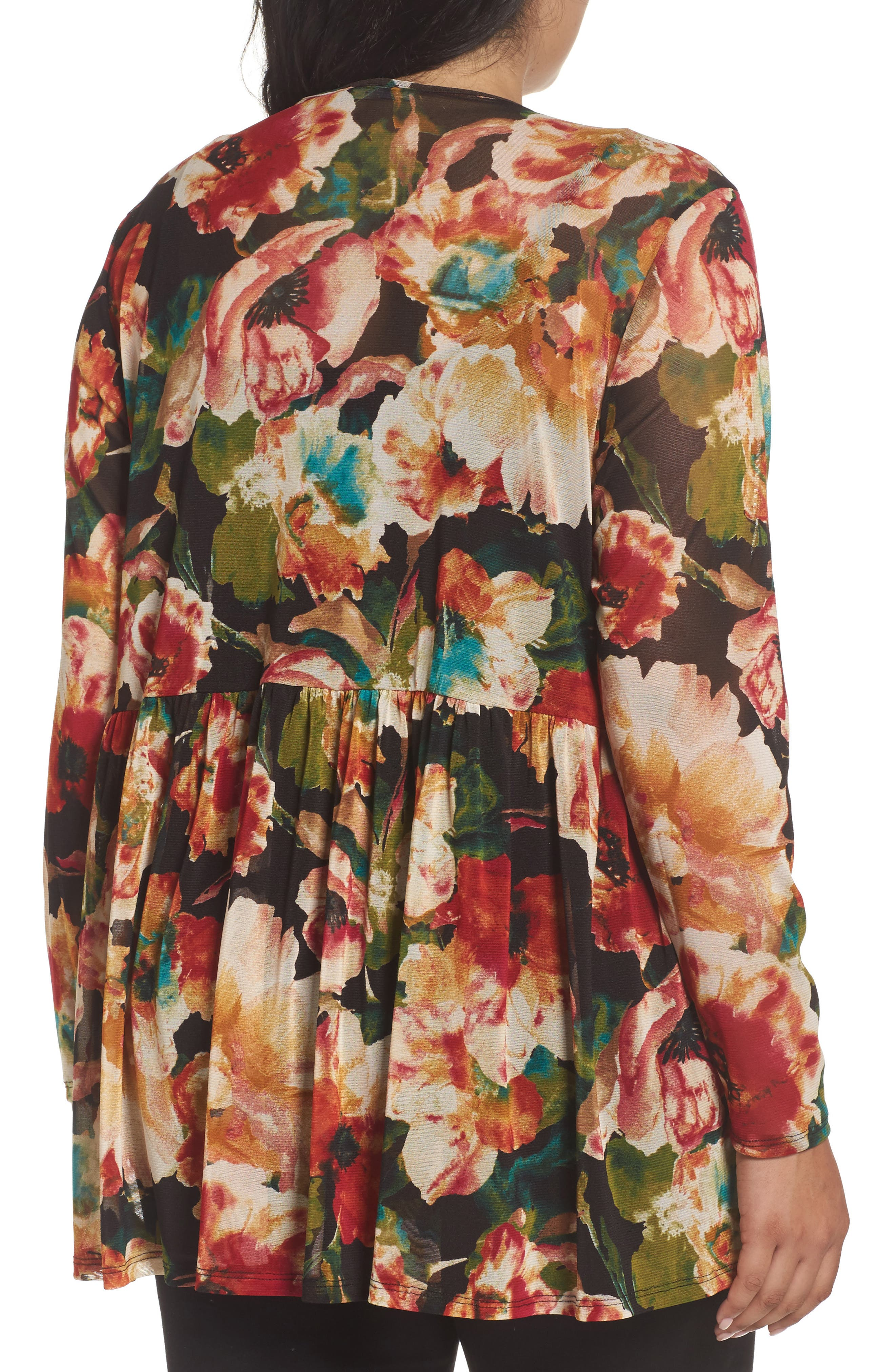 Alternate Image 2  - Sejour Floral Print Mesh Peplum Tunic (Plus Size)