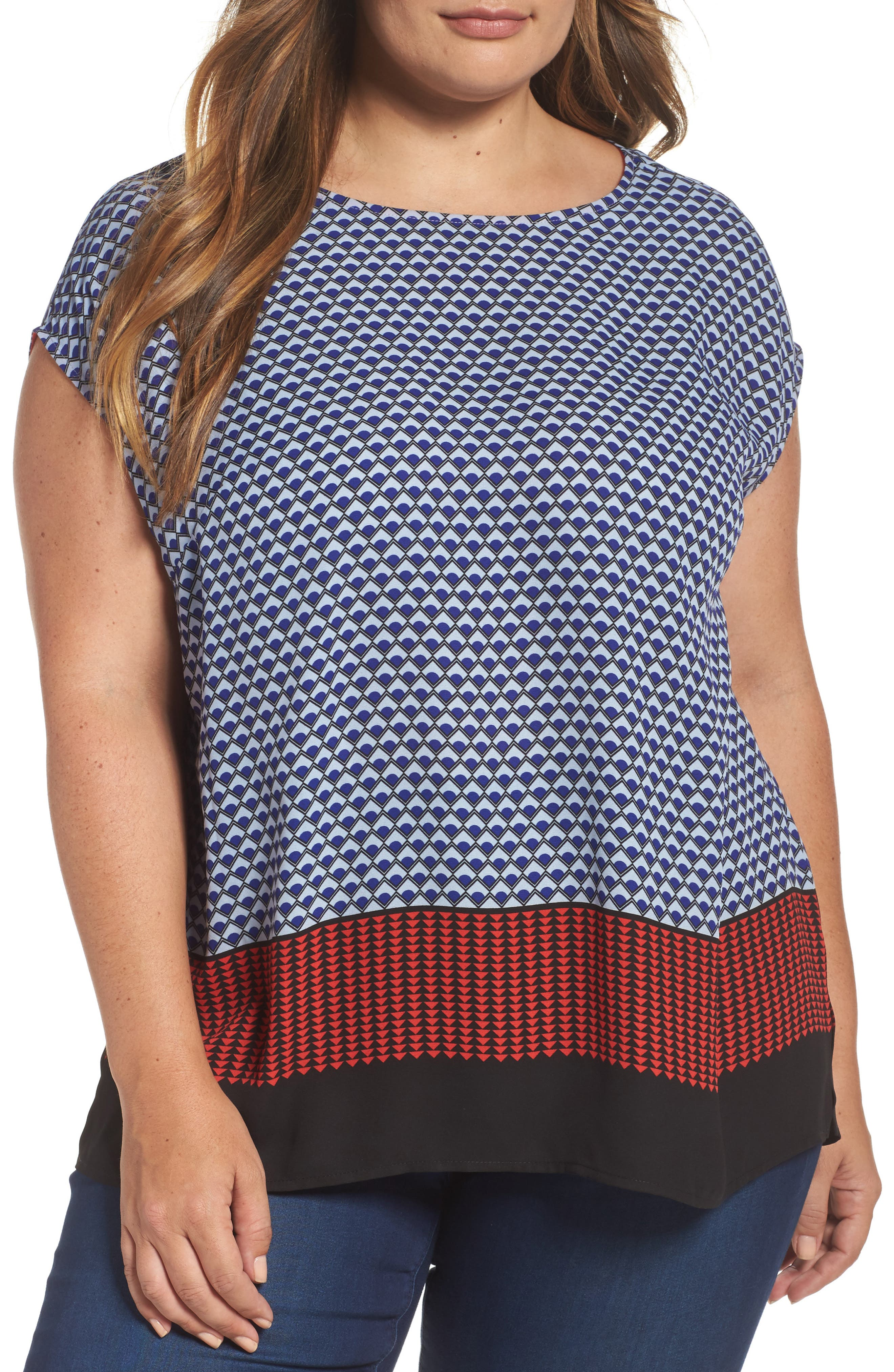 Alternate Image 1 Selected - Vince Camuto Foulard Border Print Blouse (Plus Size)