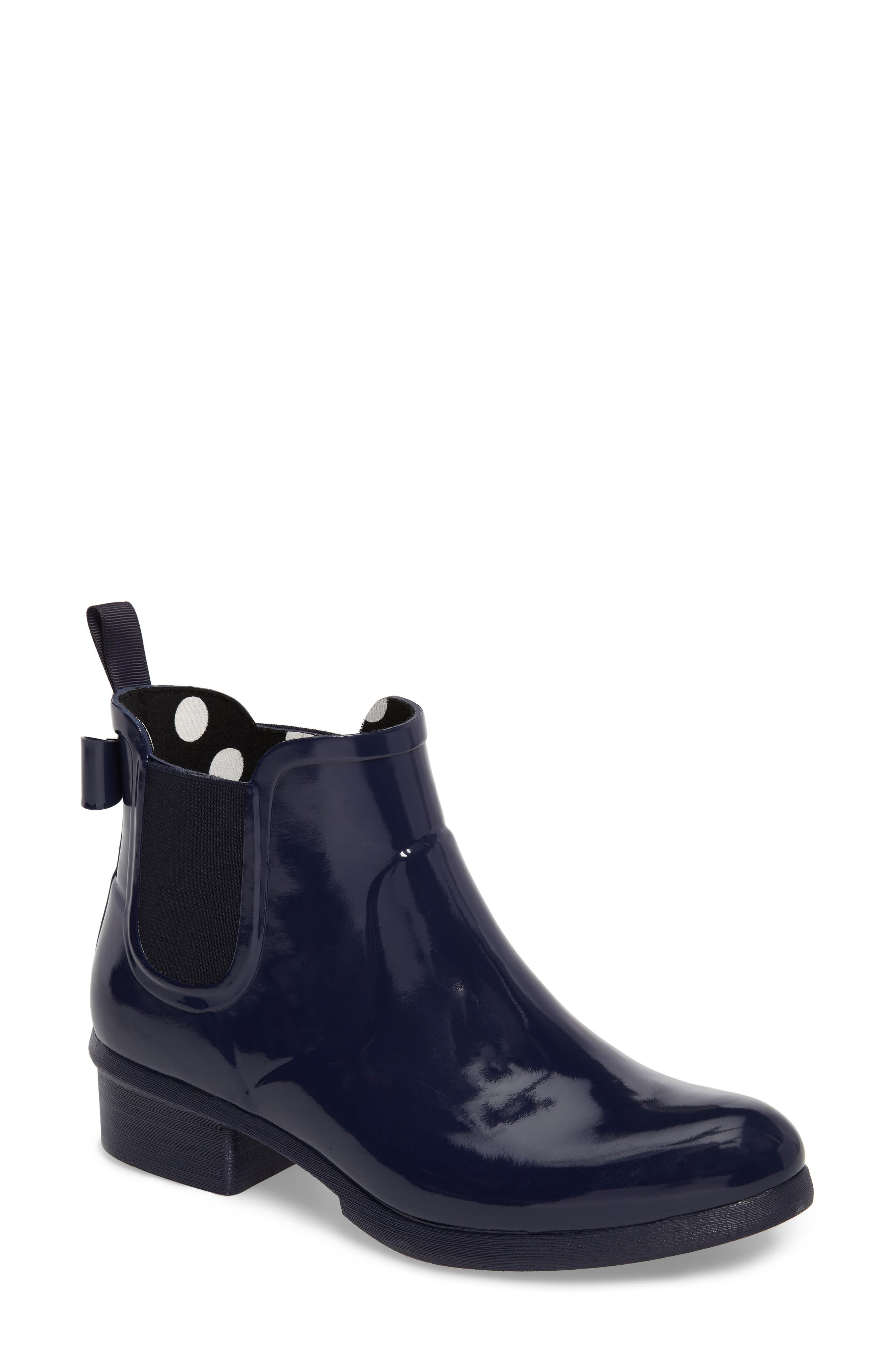 telly chelsea rain bootie,                         Main,                         color, New Navy Shiny Rubber