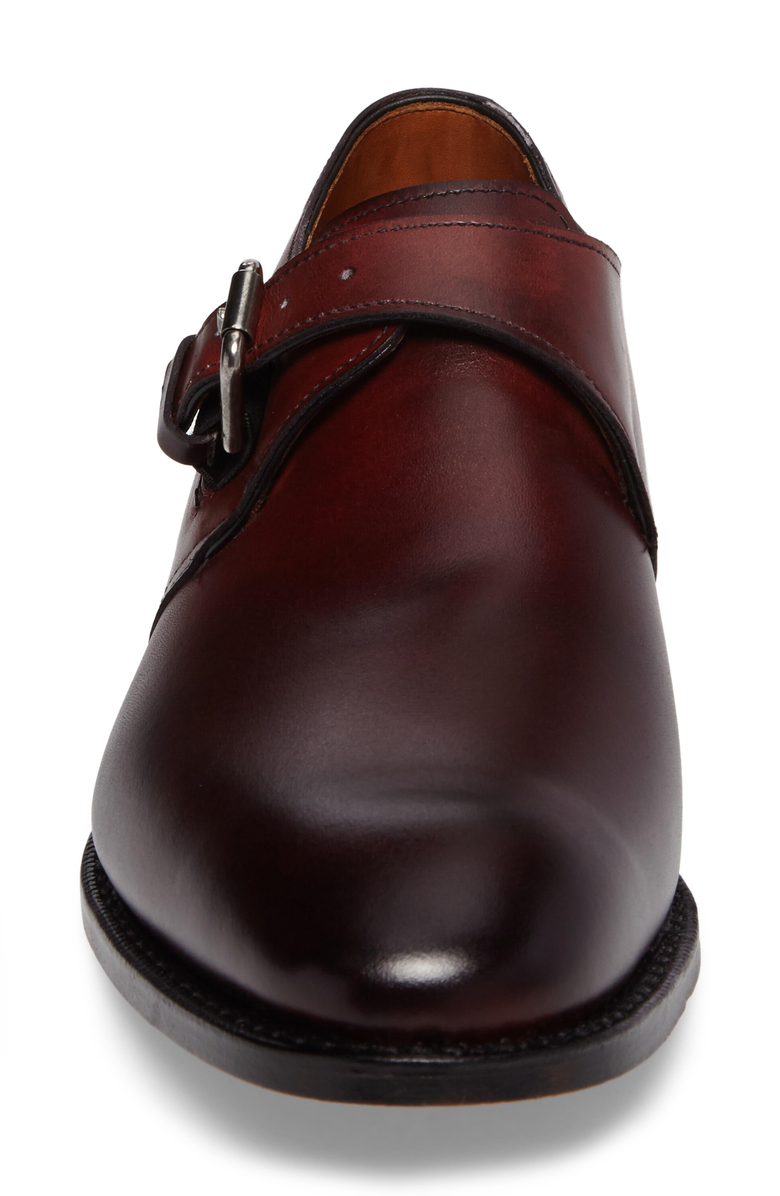 Warwick Monk Strap Shoe,                             Alternate thumbnail 4, color,                             Oxblood Leather