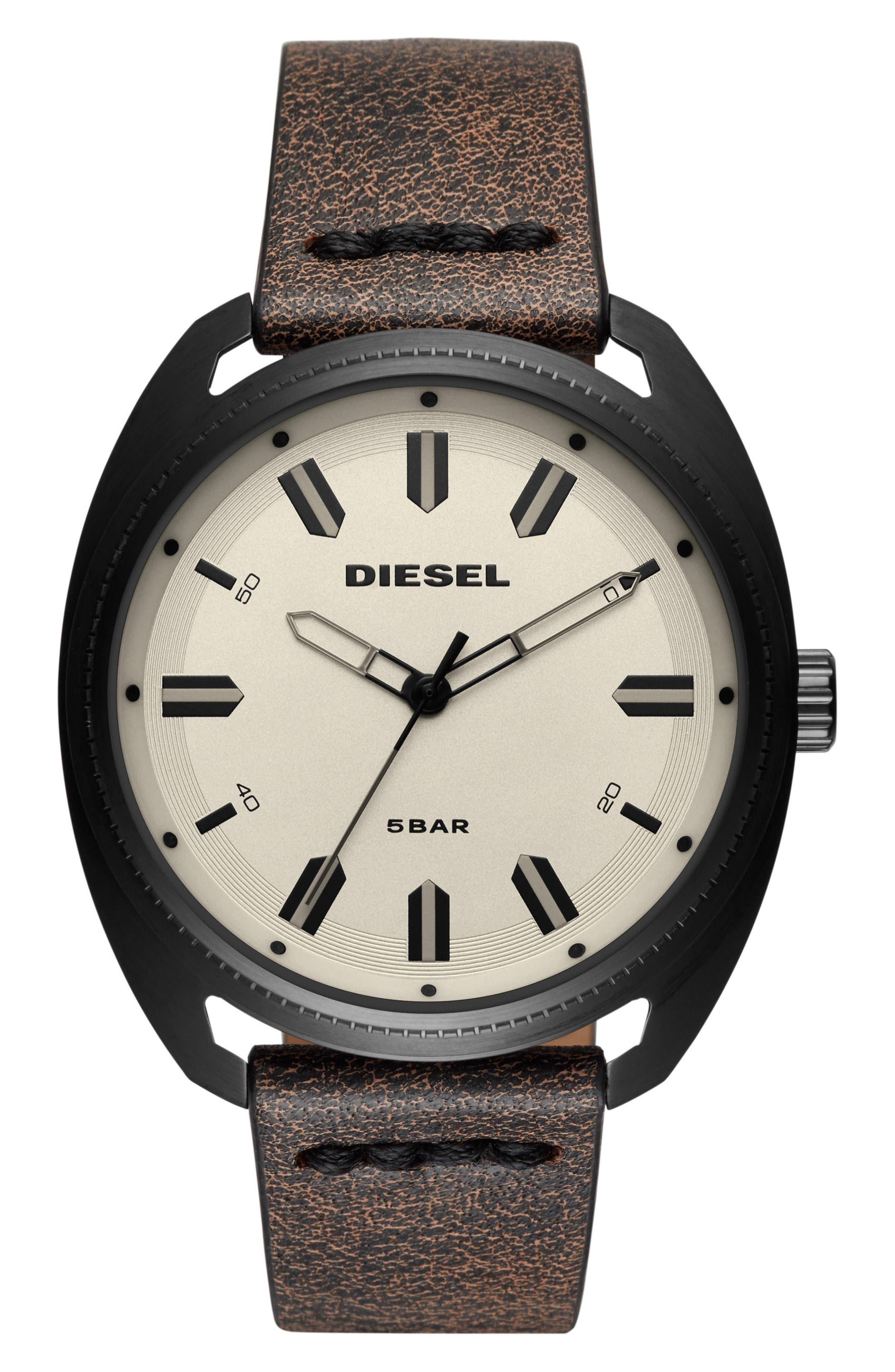 DIESEL® Fastbak Leather Strap Watch, 45mm x 51mm