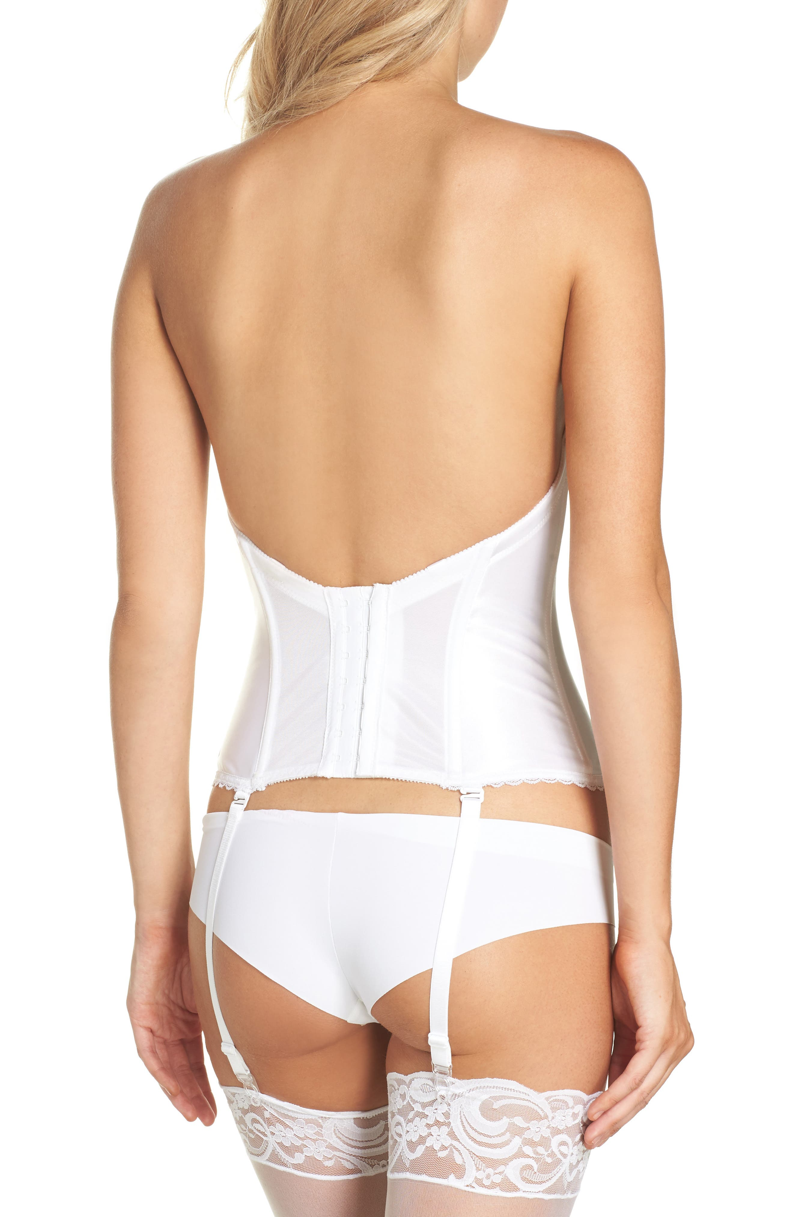 Convertible Low Back Satin Bustier,                             Alternate thumbnail 2, color,                             White