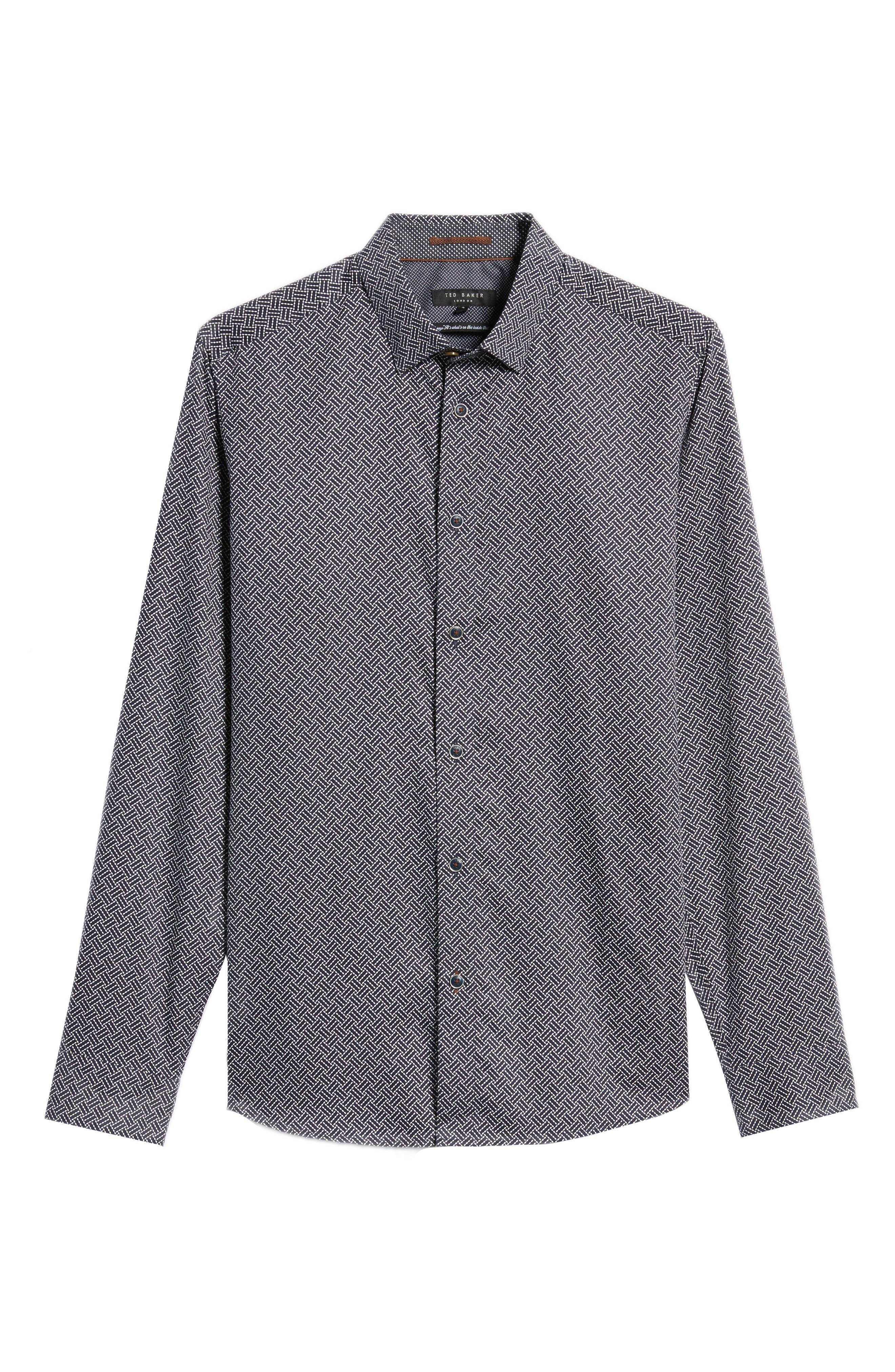 Larosh Slim Fit Basket Weave Print Sport Shirt,                             Alternate thumbnail 6, color,                             Navy