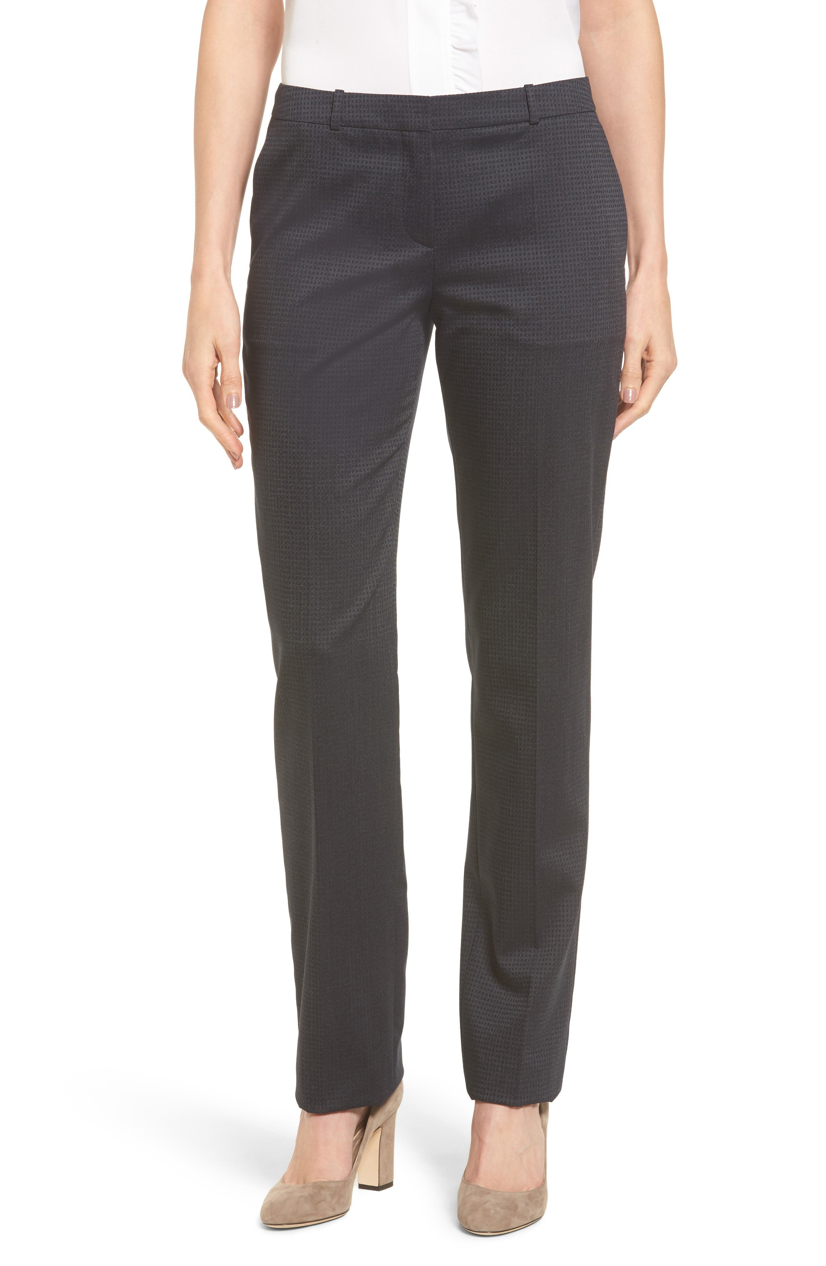 Tamea Stretch Wool Straight Leg Trousers,                         Main,                         color, Navy Fantasy