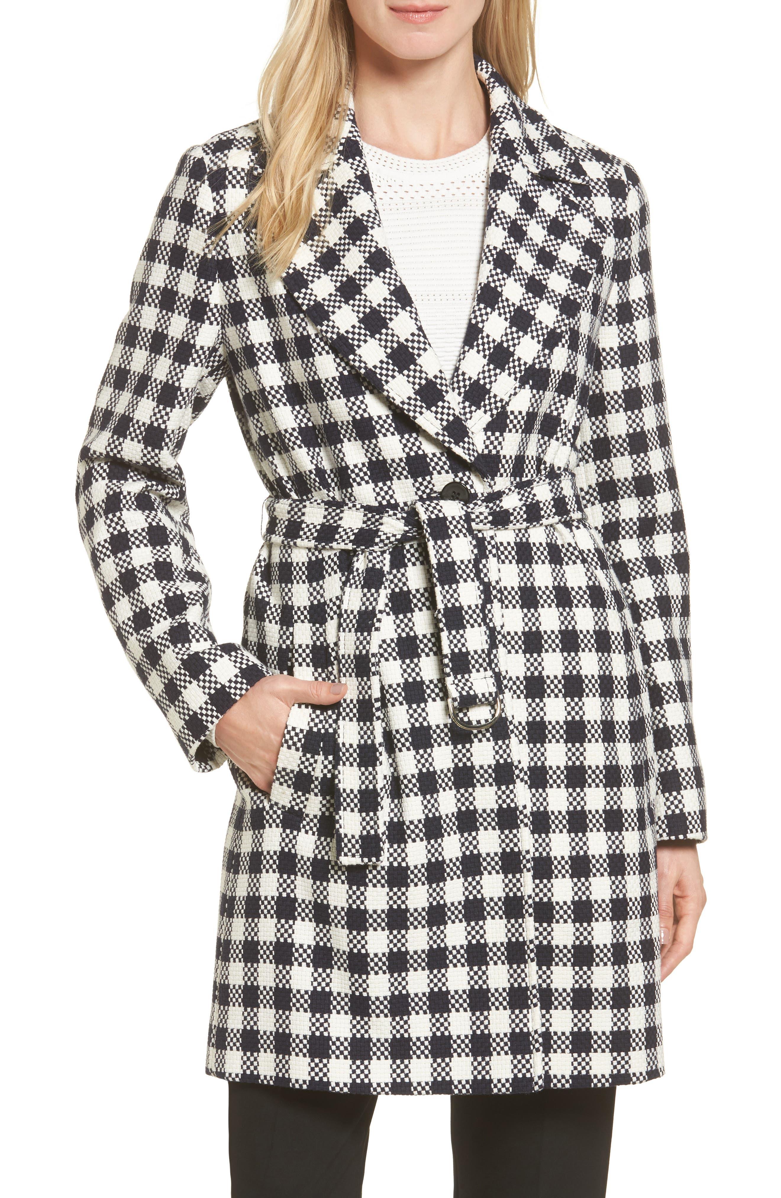 Cumarina Check Belted Check Coat,                         Main,                         color, Navy Fantasy