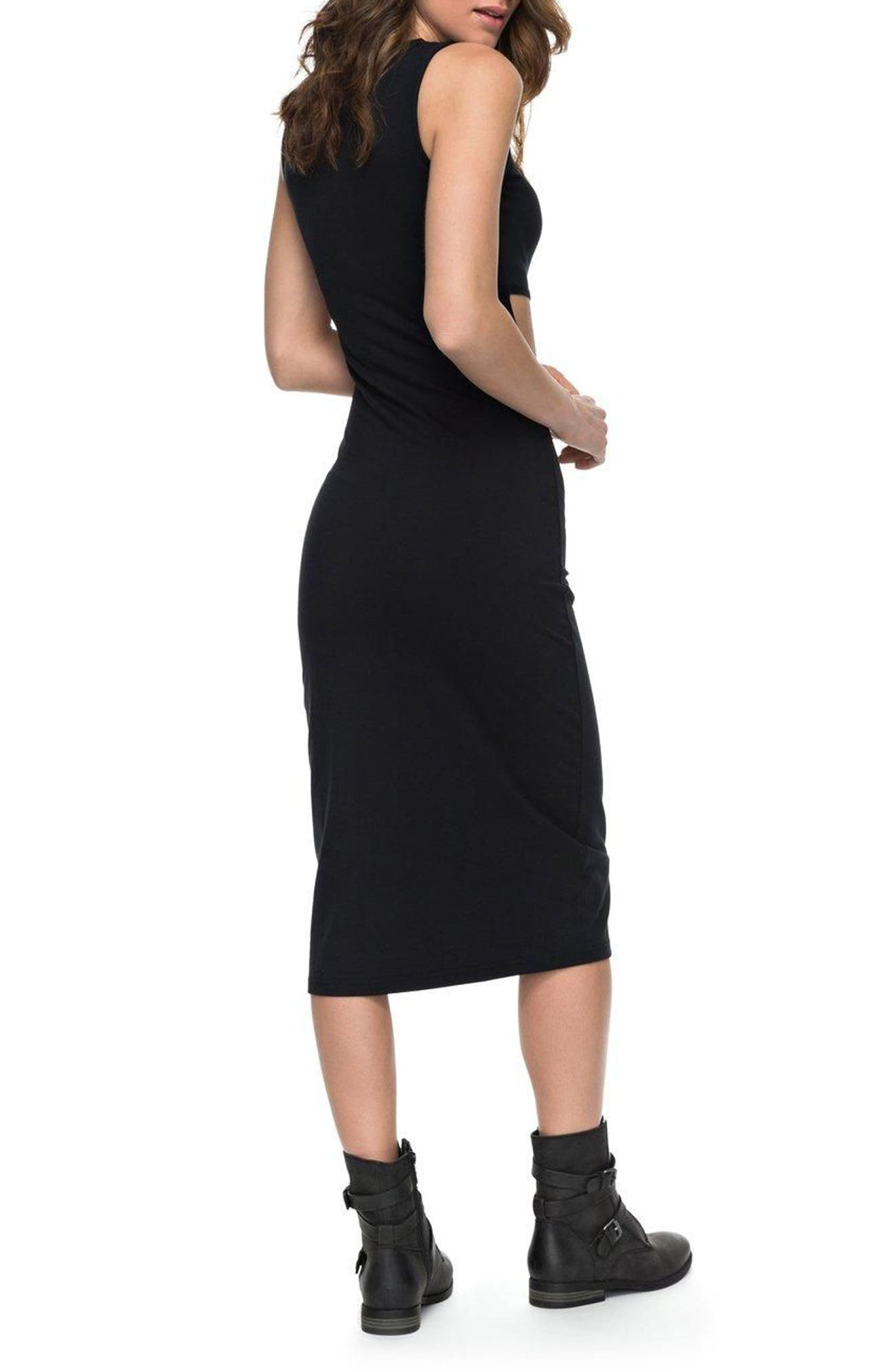 May Blossom Cutout Midi Dress,                             Alternate thumbnail 2, color,                             Anthracite