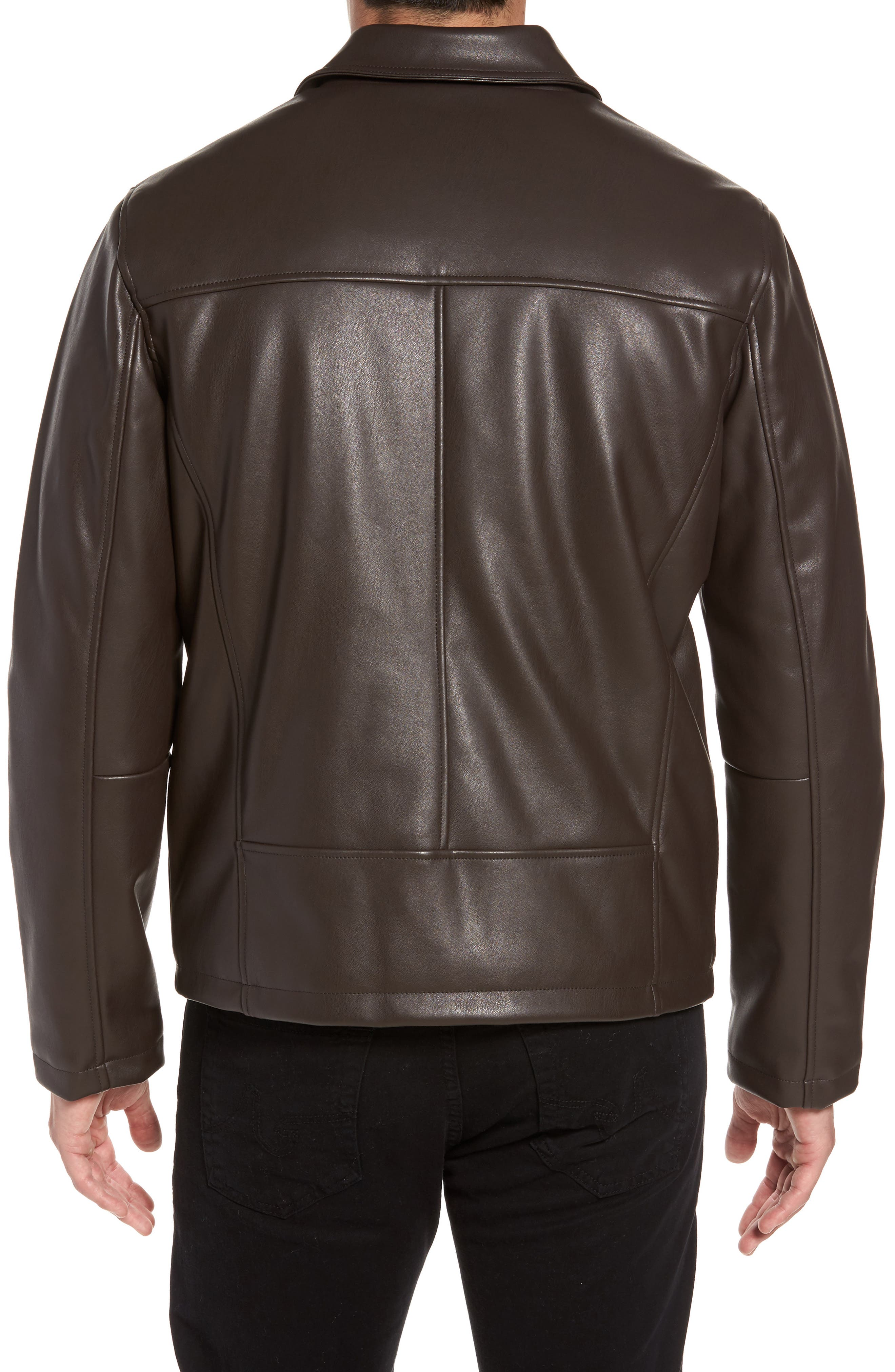 Collared Open Bottom Faux Leather Jacket,                             Alternate thumbnail 2, color,                             Dark Brown