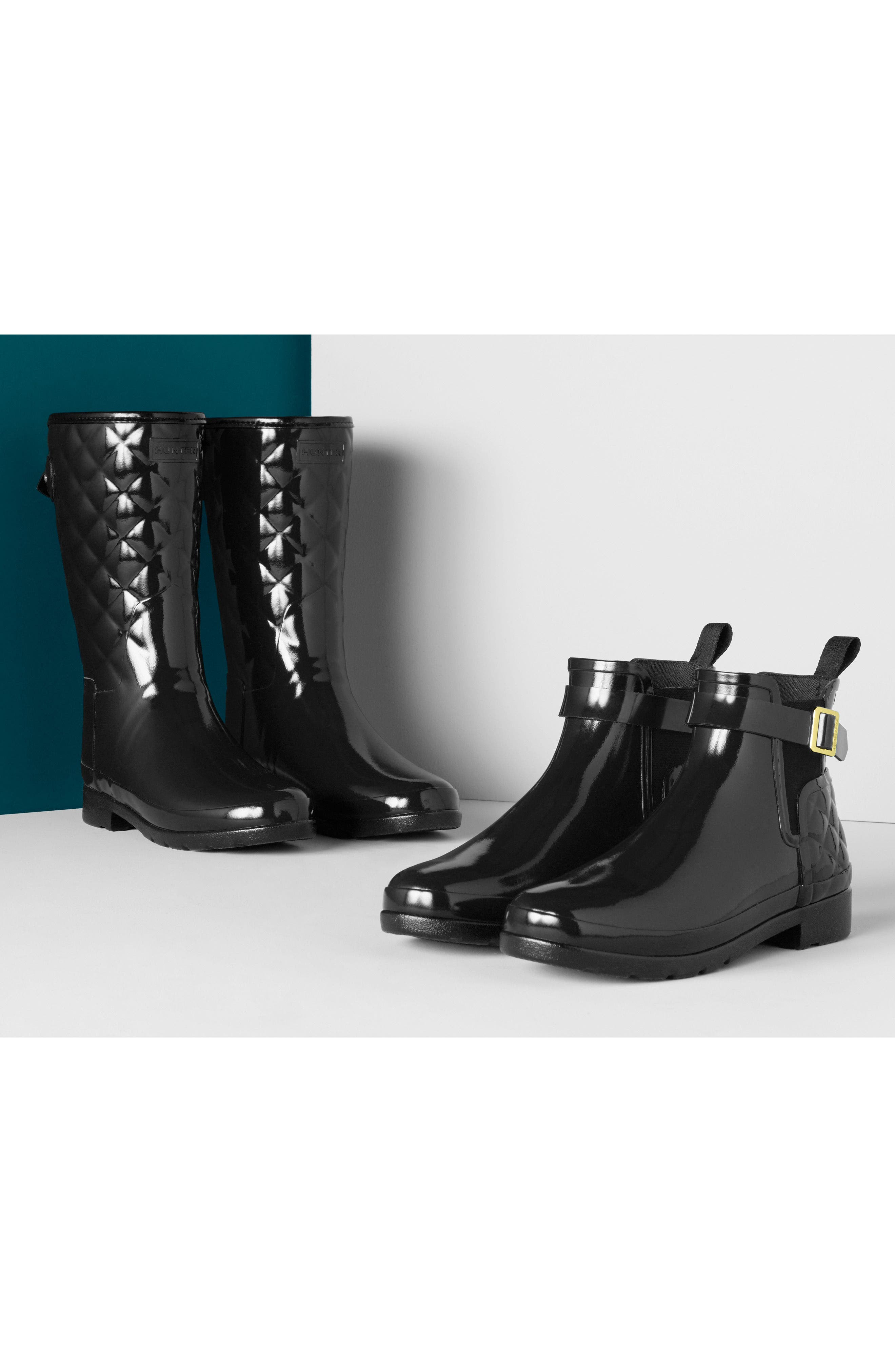 Alternate Image 7  - Hunter Refined High Gloss Quilted Short Rain Boot (Women)