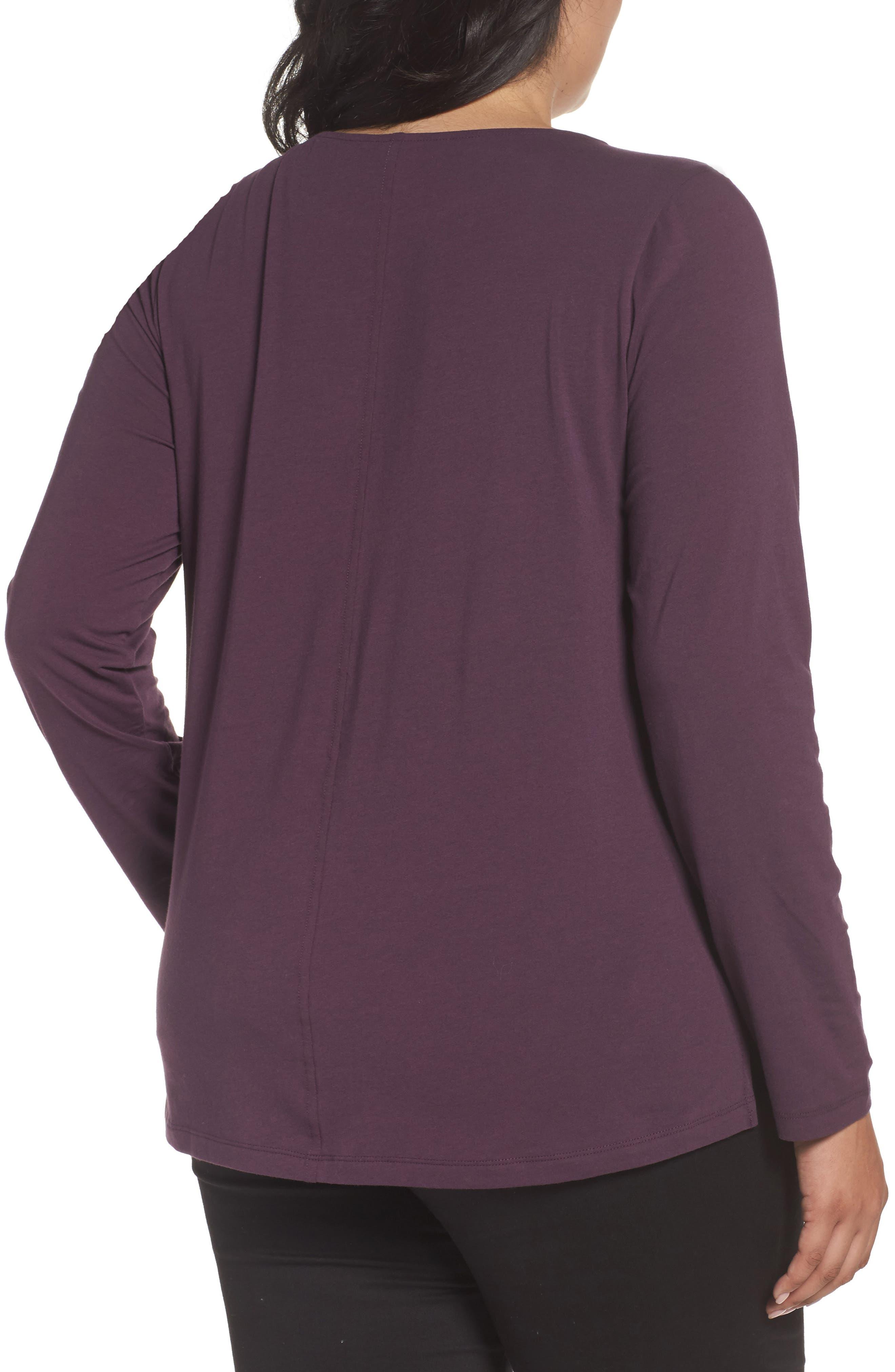 Ballet Neck Long Sleeve Tee,                             Alternate thumbnail 2, color,                             Purple Plum