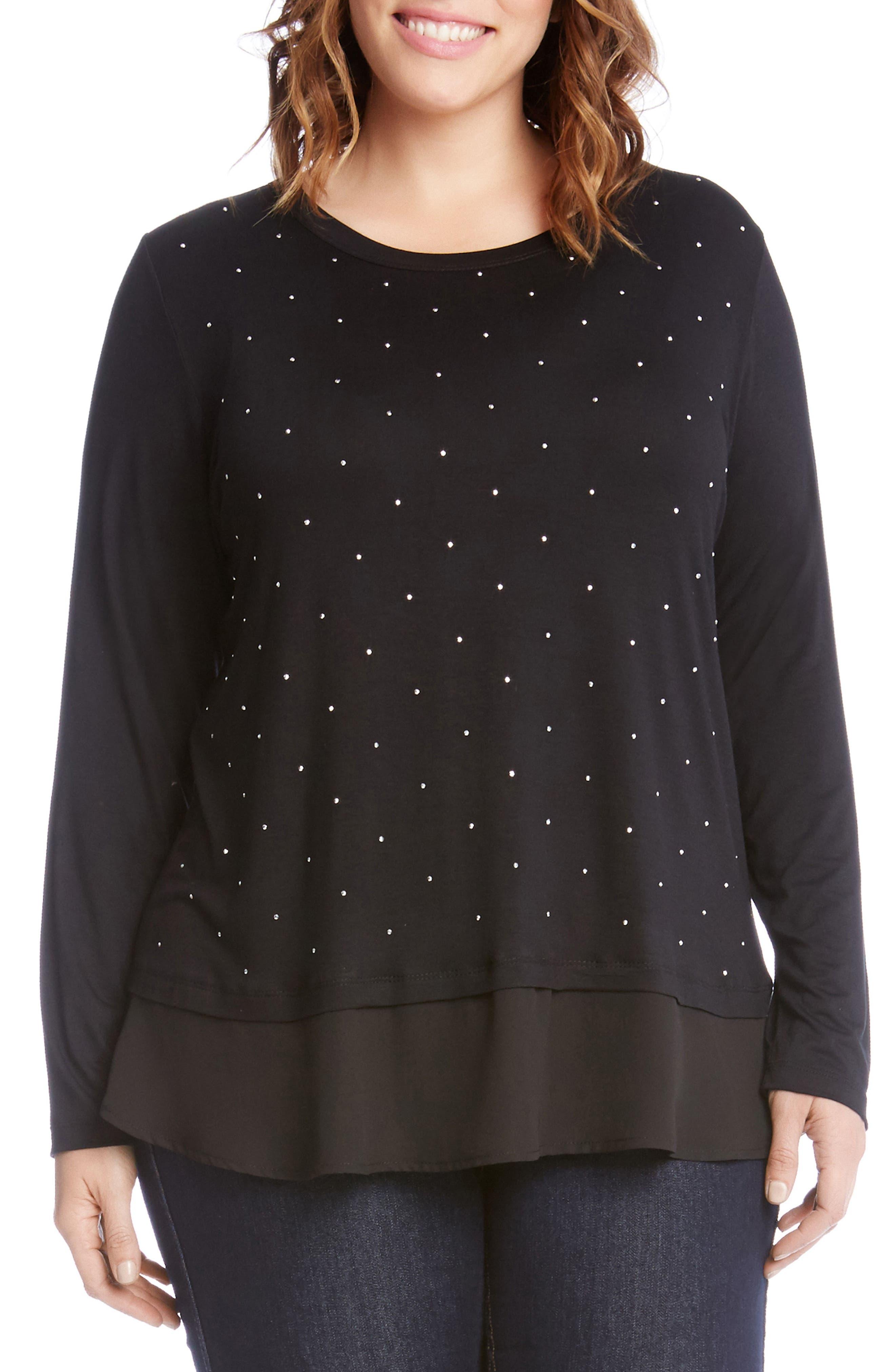 Main Image - Karen Kane Studded Woven Hem Top (Plus Size)