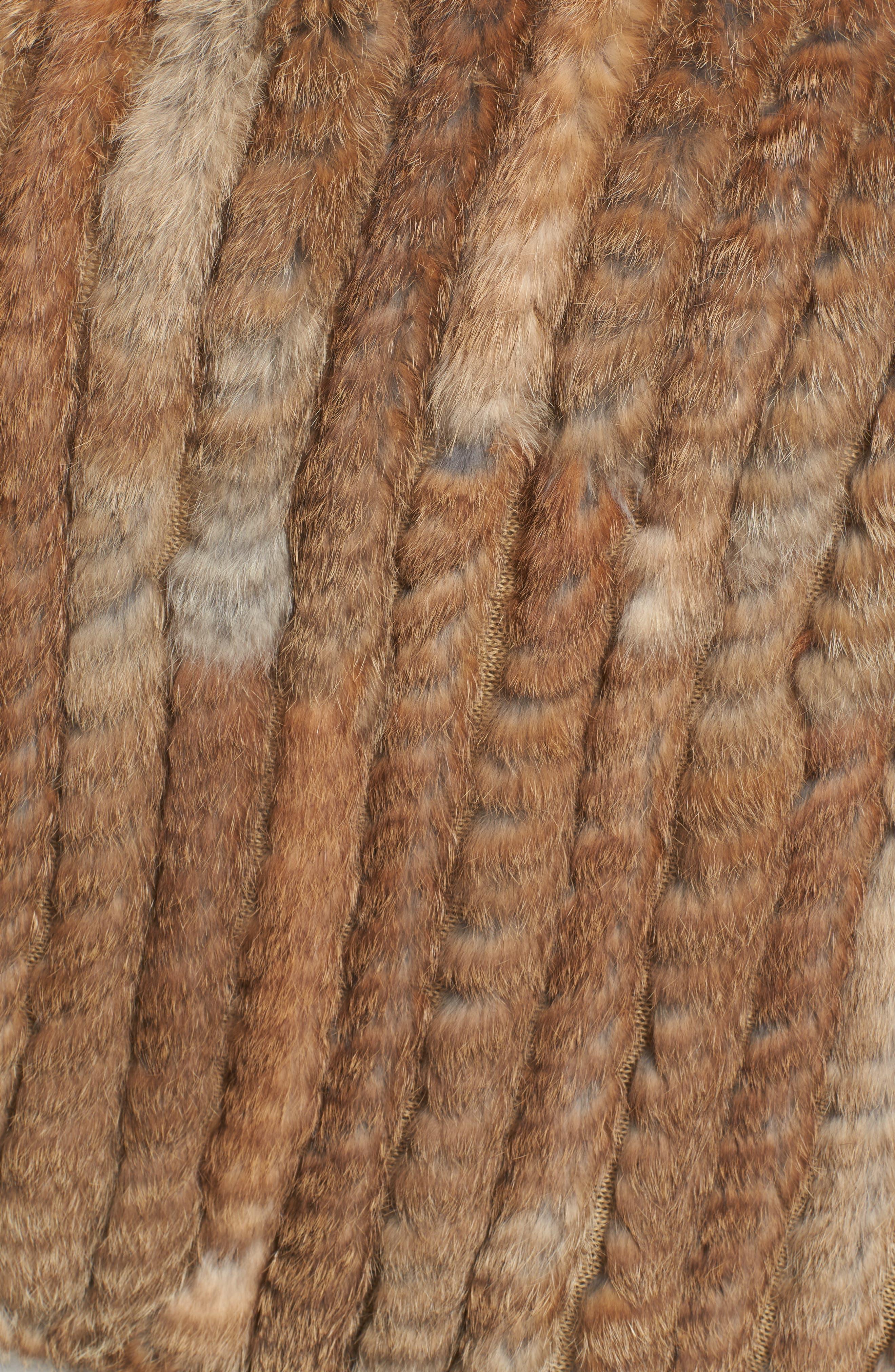 Genuine Rabbit Fur Poncho,                             Alternate thumbnail 6, color,                             Brown/Camel