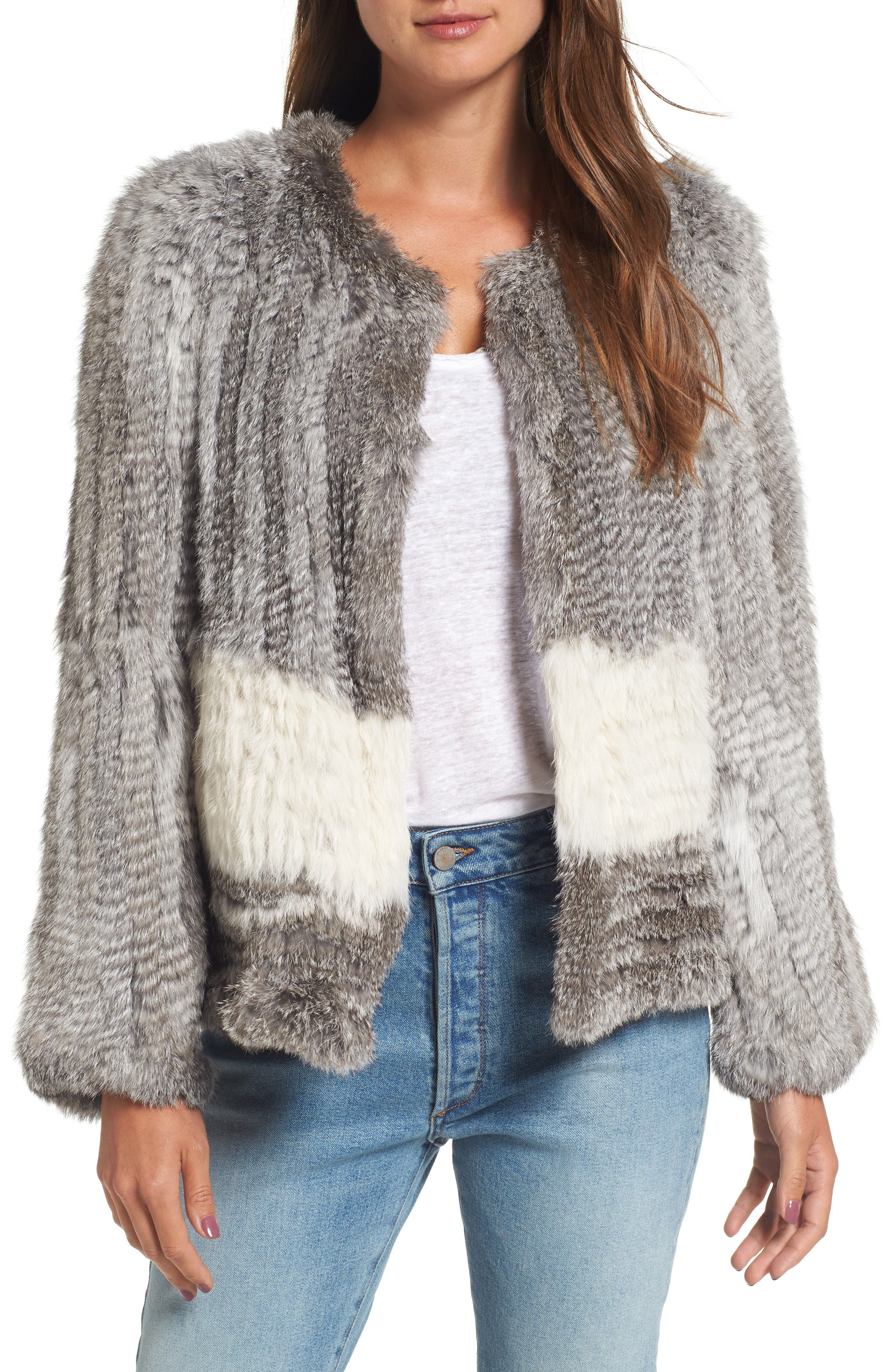 Love Token Colorblock Genuine Rabbit Fur Jacket