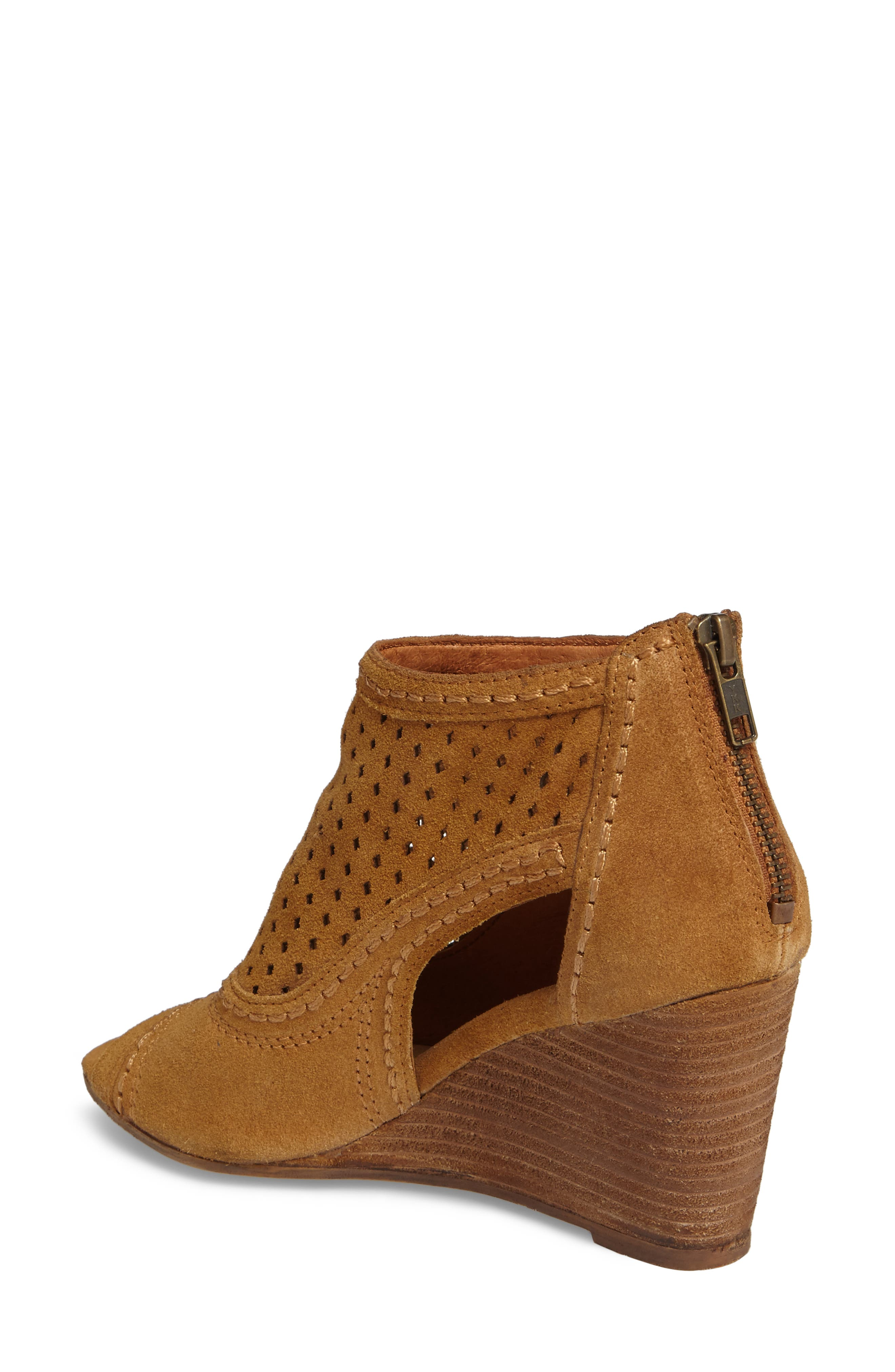 Sharon Perforated Wedge Sandal,                             Alternate thumbnail 2, color,                             Sandcastle Suede